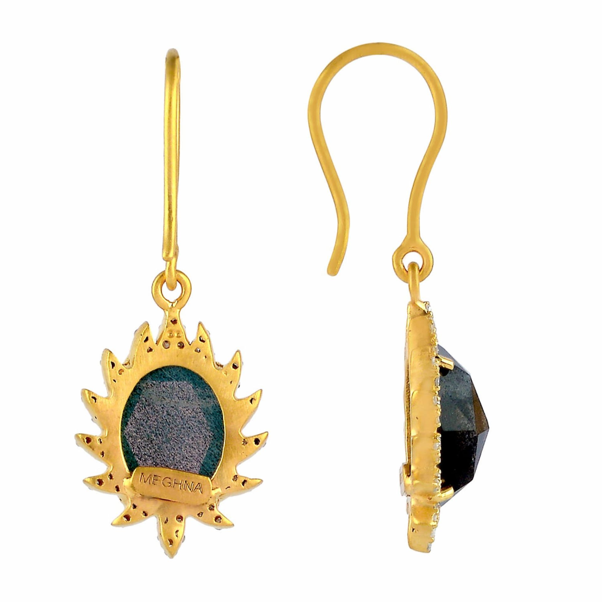 Meghna Jewels CLAW Drop Earrings Labradorite and Diamonds