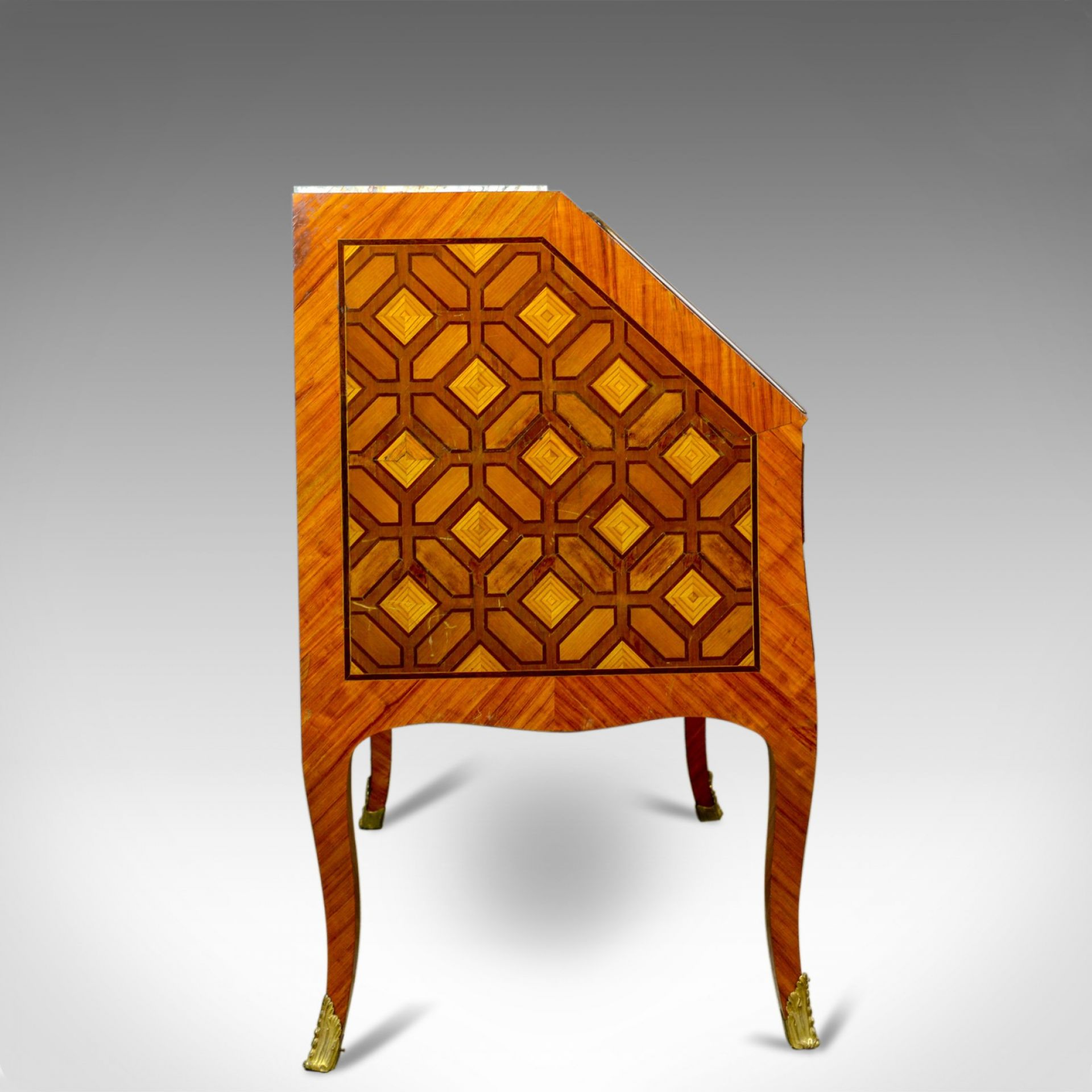 Antique Bureau, French, Marble Top, Kingwood, Marquetry Desk, Circa 1900