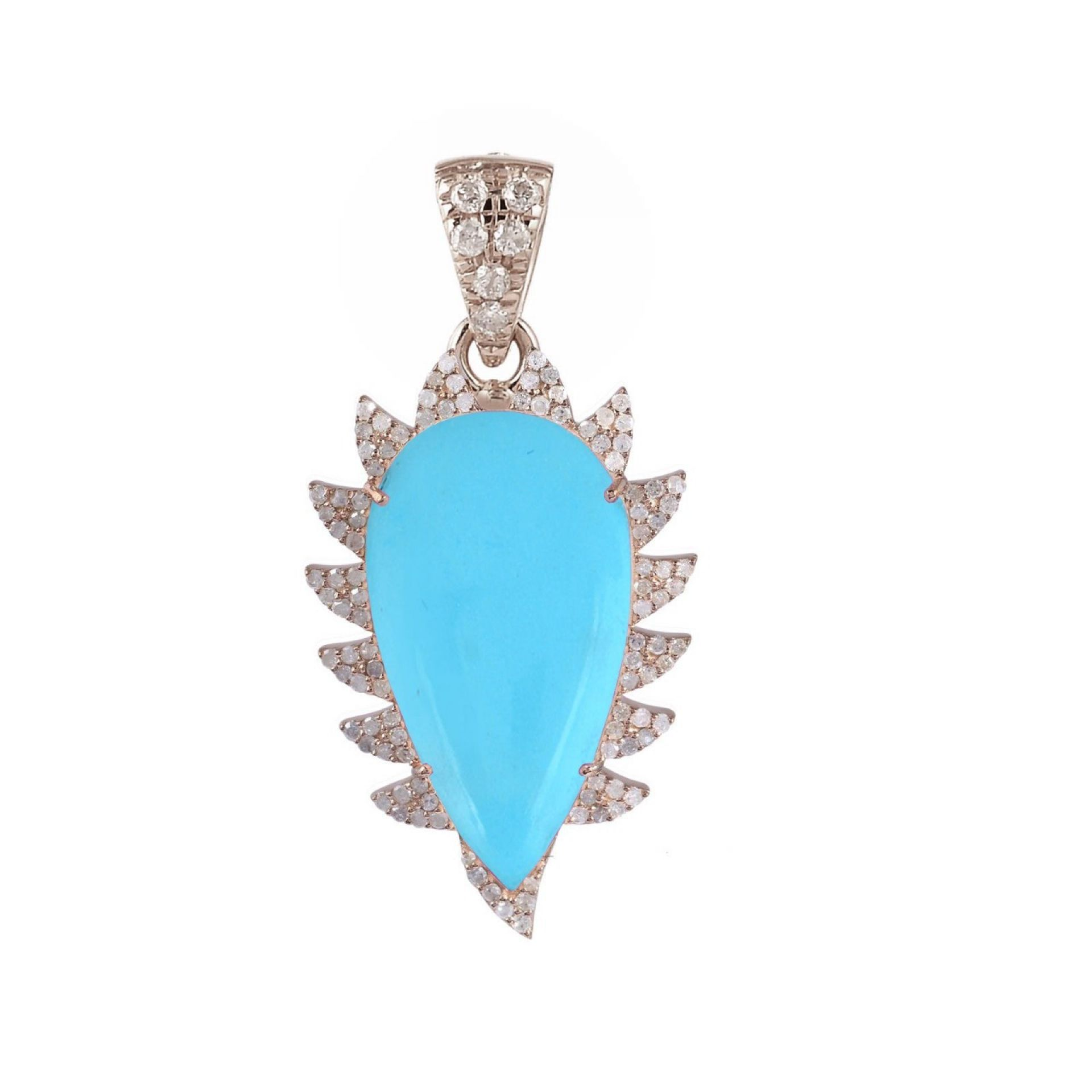 Meghna Jewels Claw Turquoise Diamonds Pendant Necklace