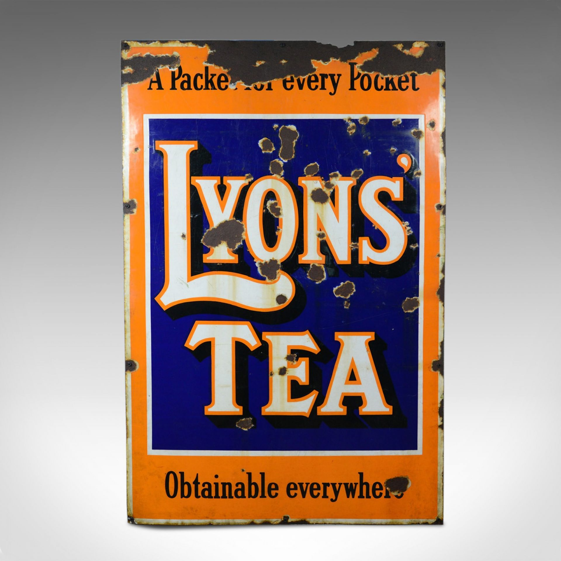 Large, Mid-Century, Enamel Sign, English, Vintage, Lyons Tea, Advertising c1950s