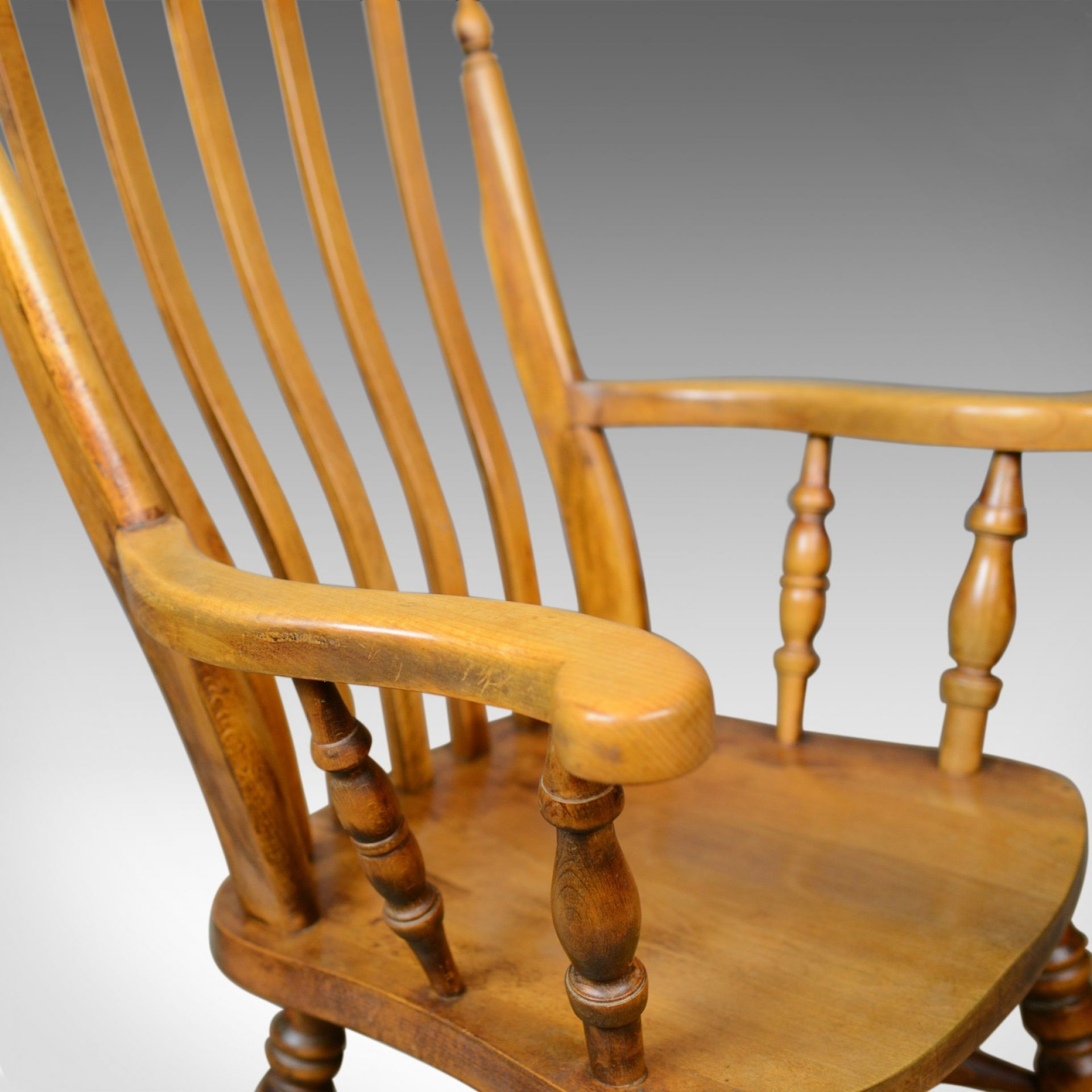 Antique Elbow Chair, English, Country Kitchen, Windsor Armchair, Early C20th