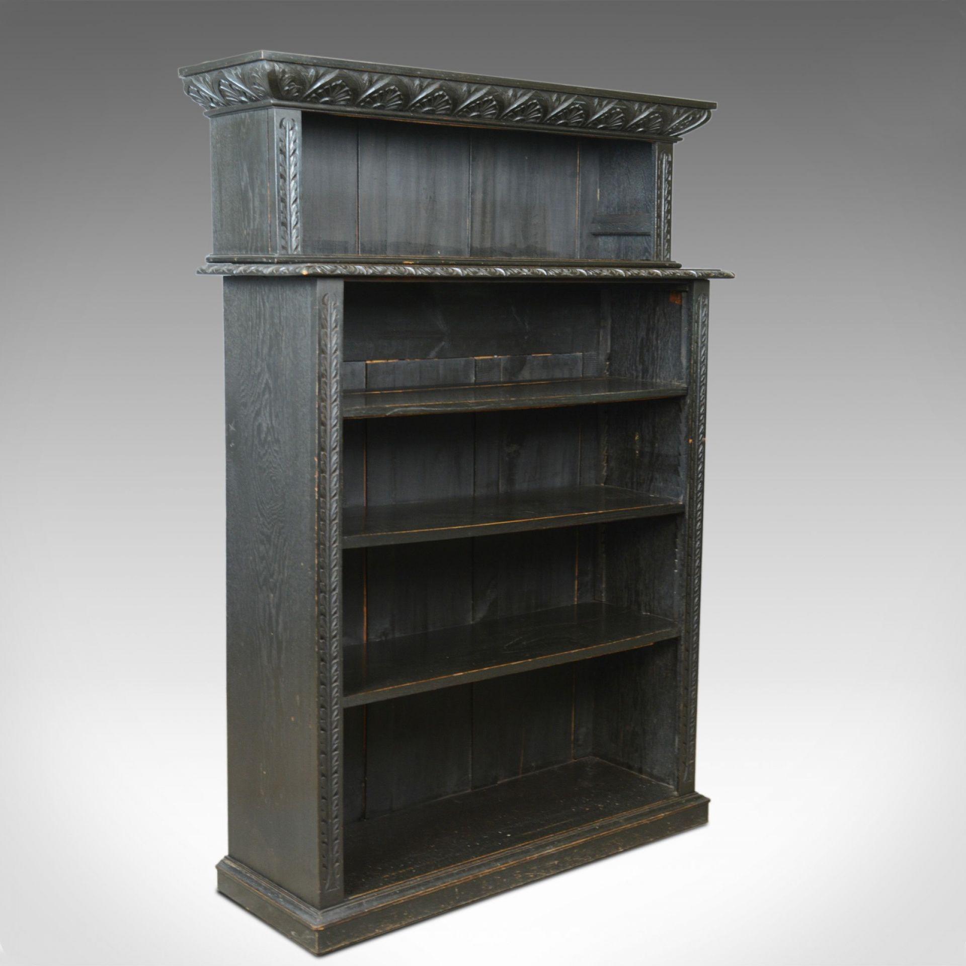 Antique Open Bookshelf, Oak, Victorian, Bookcase, Jacobean Overtones Circa 1890