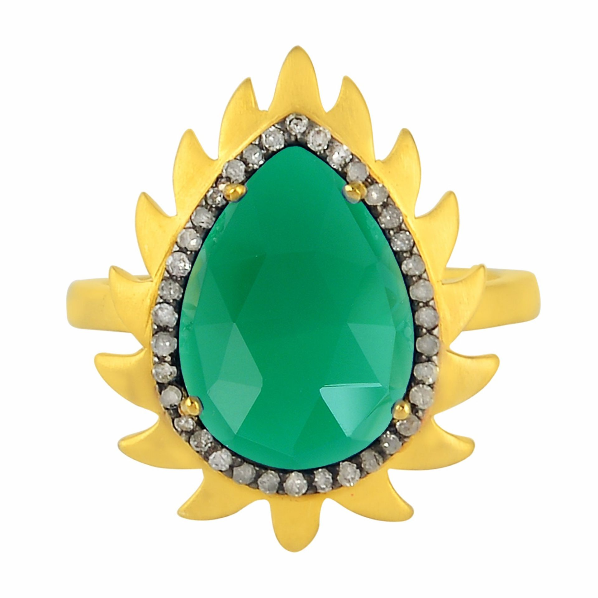 Meghna Jewels Flame Ring Green Chalcedony & Diamonds