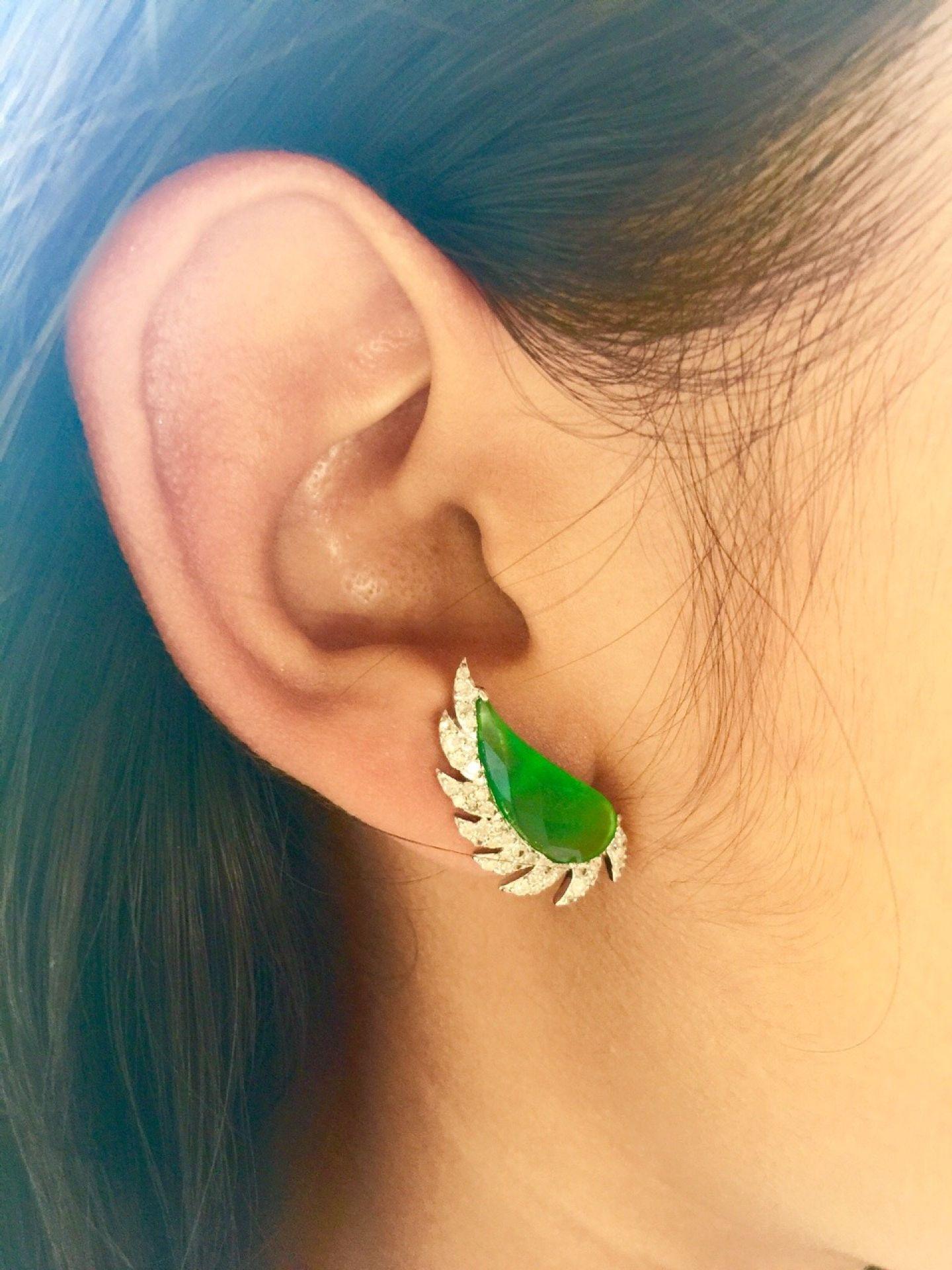 Meghna Jewels Claw Half Moon Studs Ruby & Diamonds