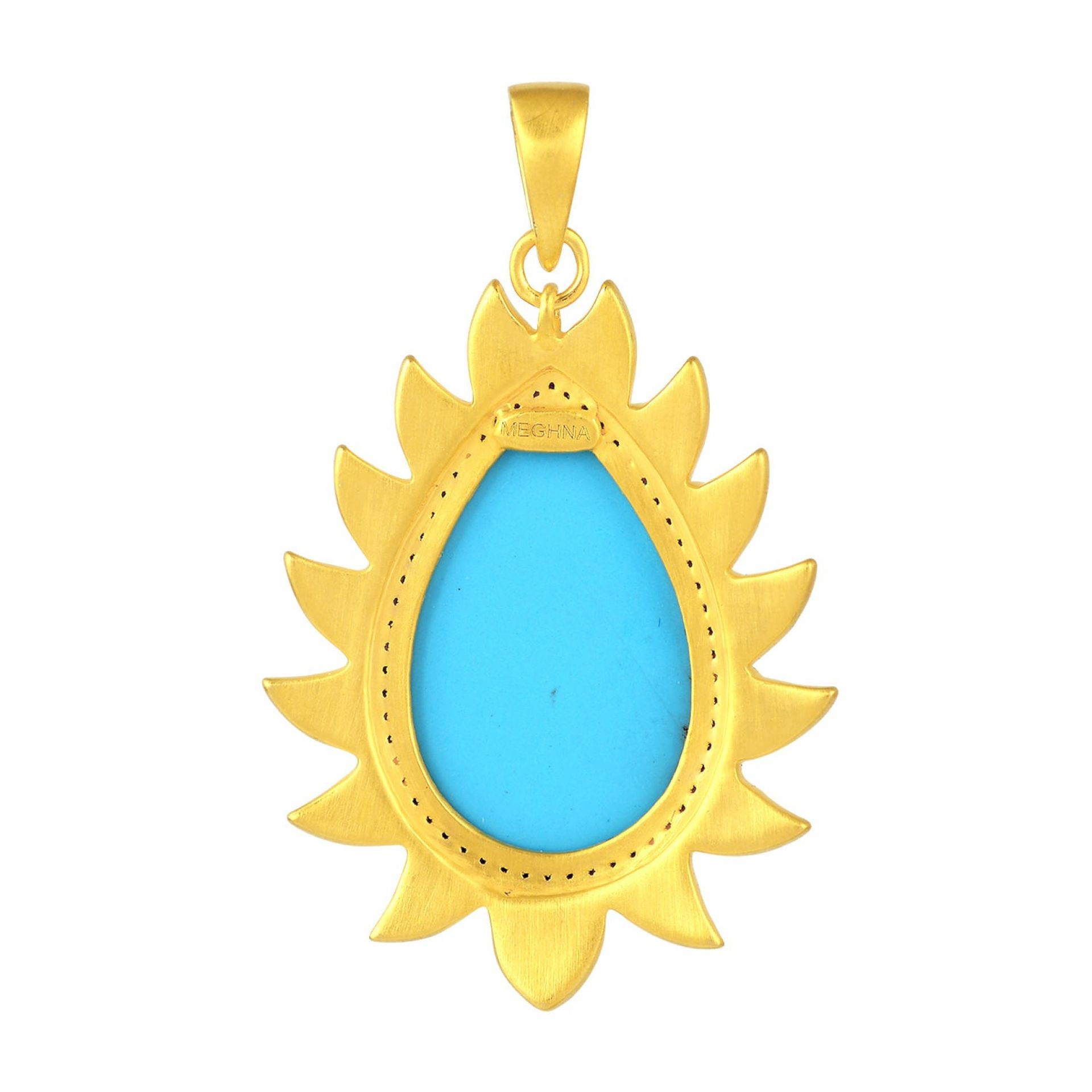 Meghna Jewels Flame Pendant Turquoise & Diamonds