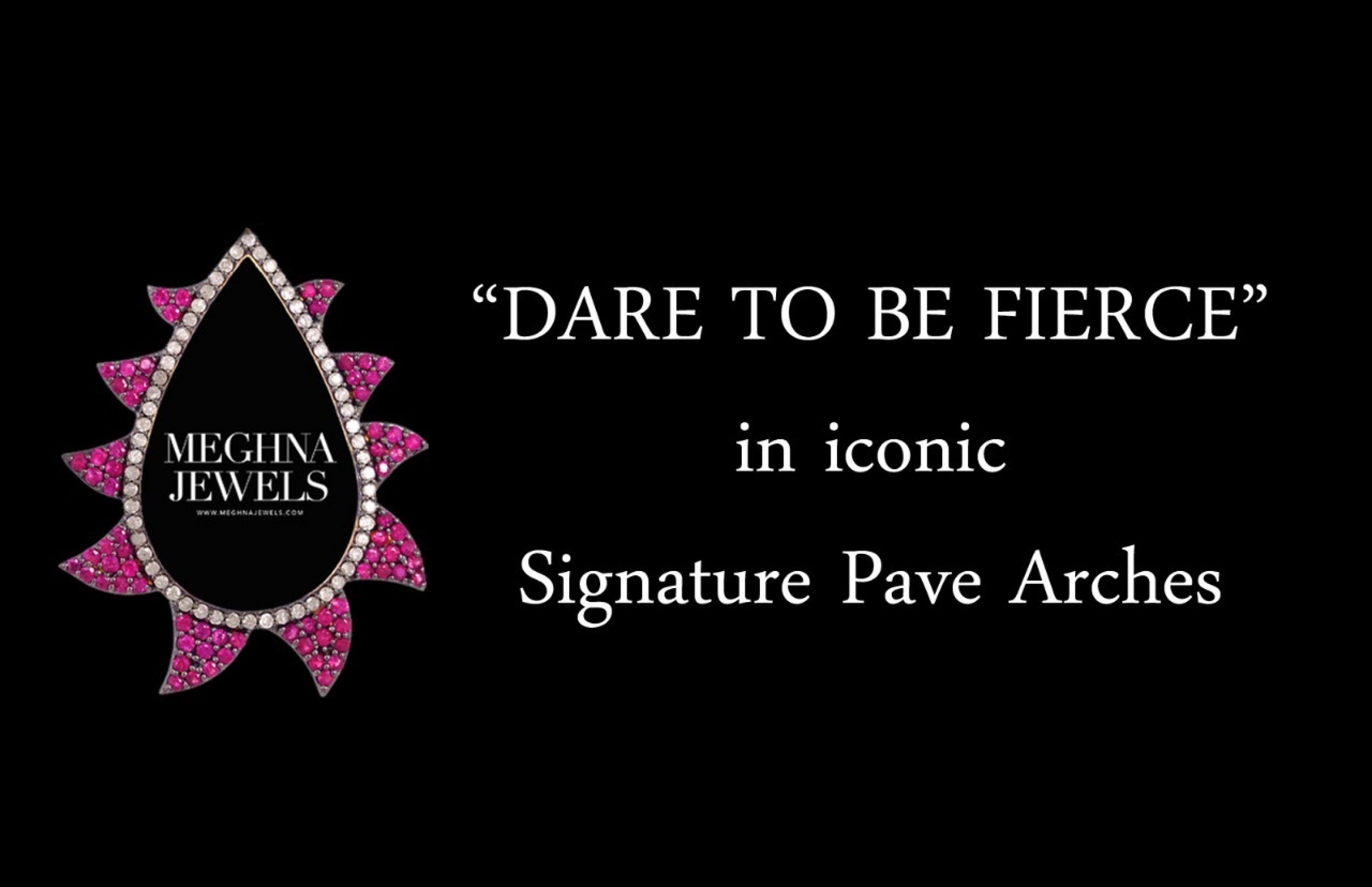 Meghna Jewels Linear Claw Drop Earrings Turquoise & Diamonds