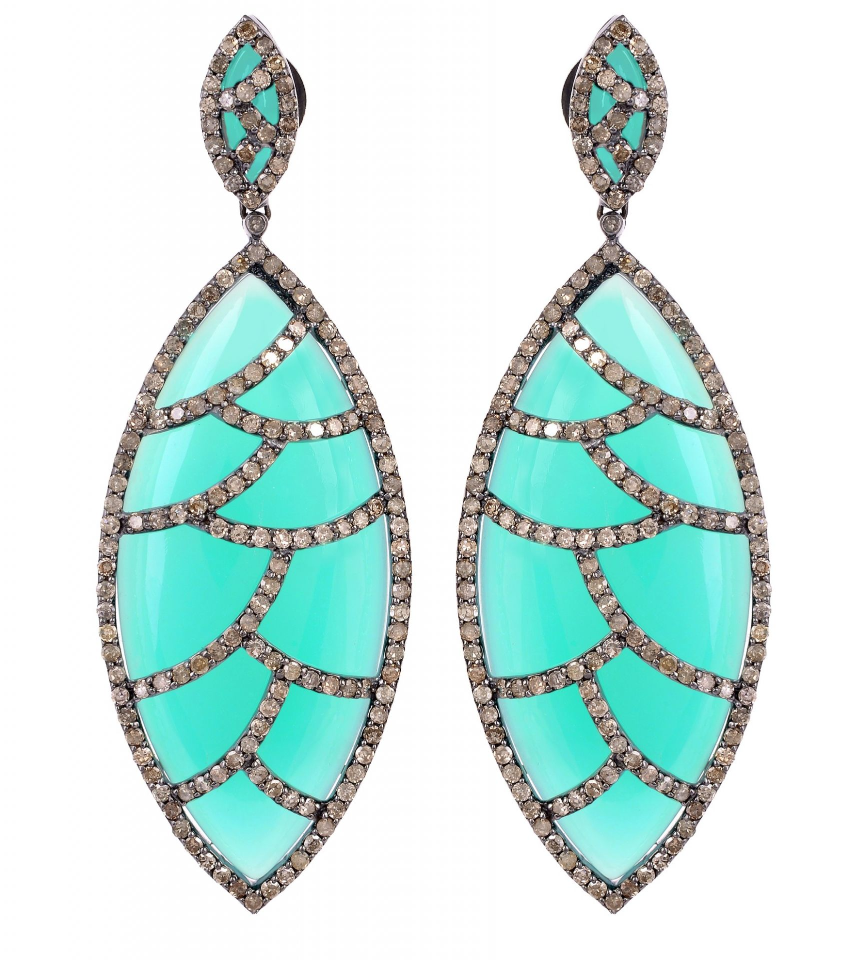 Meghna Jewels Bora Bora Earrings Turquoise & Diamonds