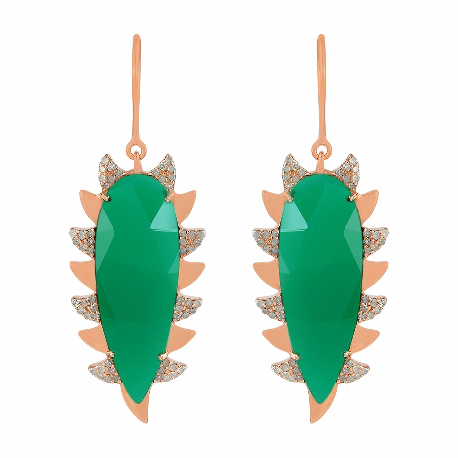 Meghna Jewels Claw Drop Earrings Green Onyx & Alt Diamonds
