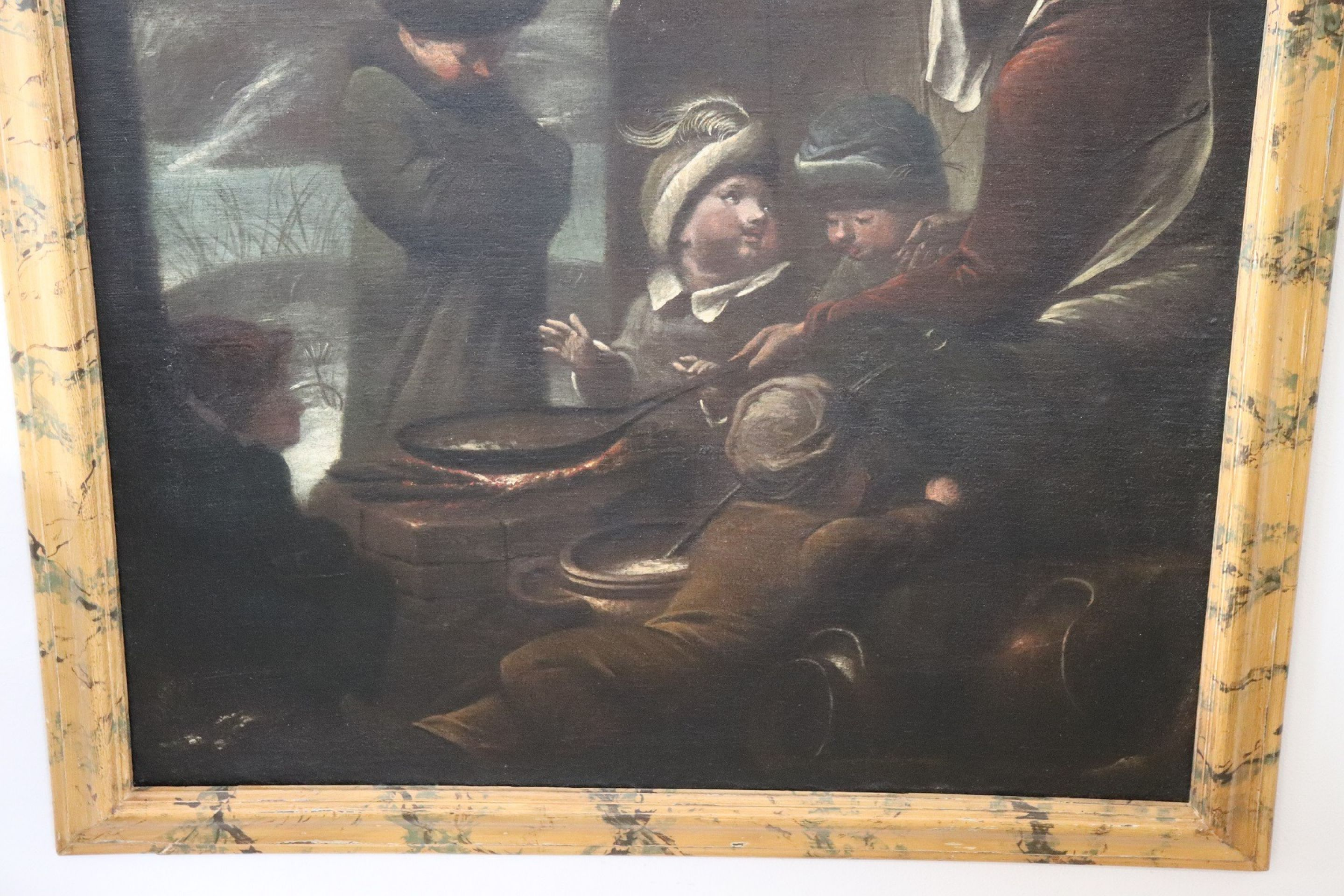 17th Century Flemish Large Oil on Canvas Painting with Frame