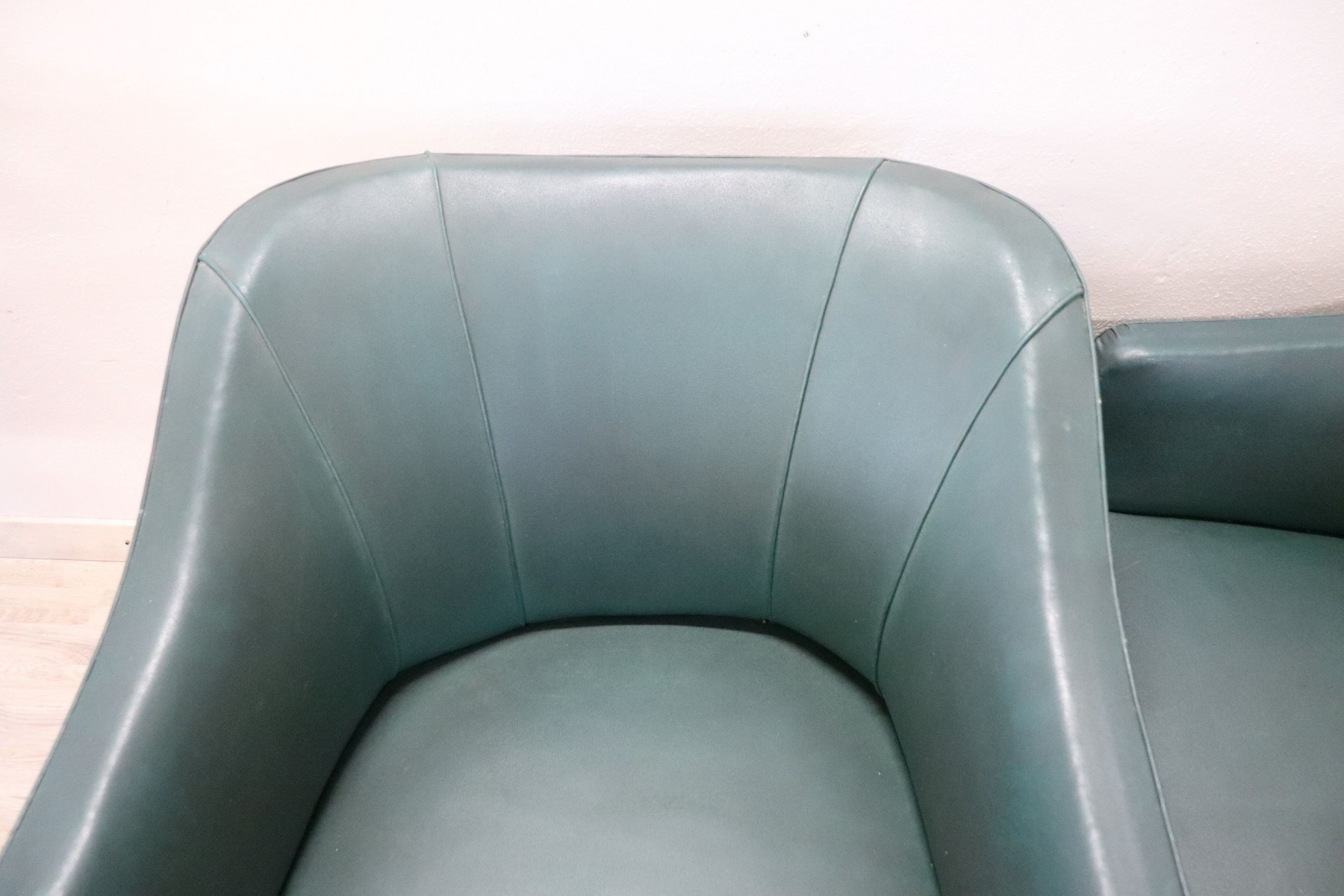 20th Century Italian Design Green Leather Pair of Armchairs, 1960s