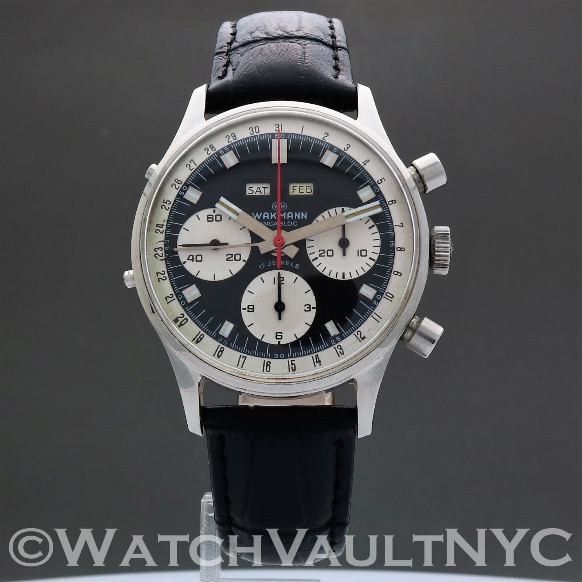 Wakmann Triple Date Chronograph 72.1309.70 1960s-1970s Vintage 37mm Manual RL510