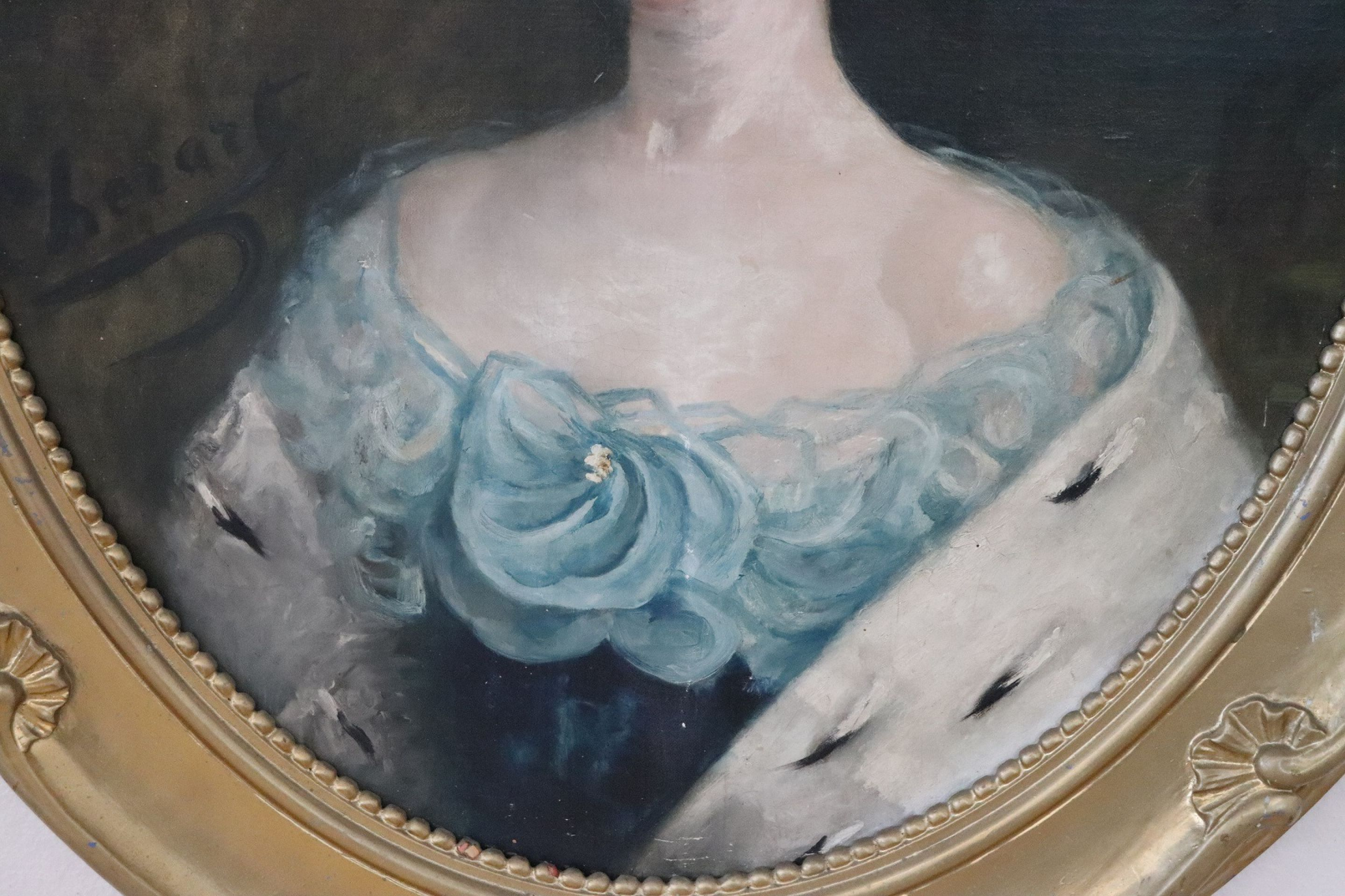 Art Nouveau Italian Oil Painting on Canvas Portrait of a Young Lady with Frame