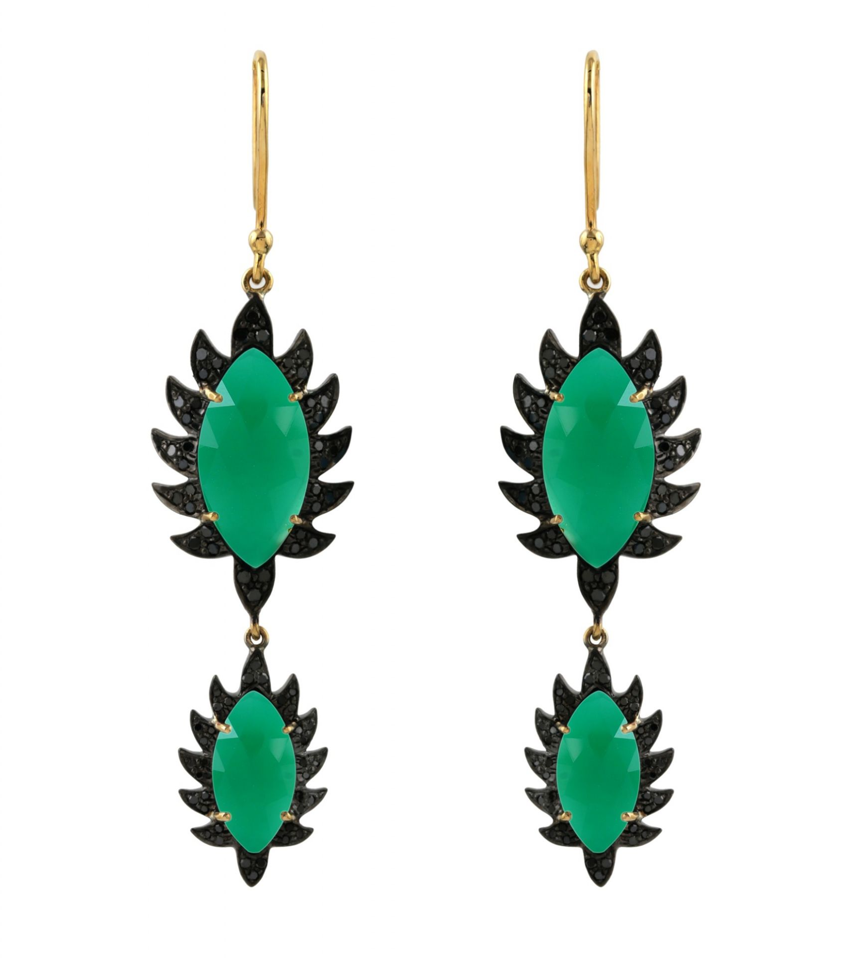 Meghna Jewels Claw Double Drop Marquise Green onyx & Black Diamonds