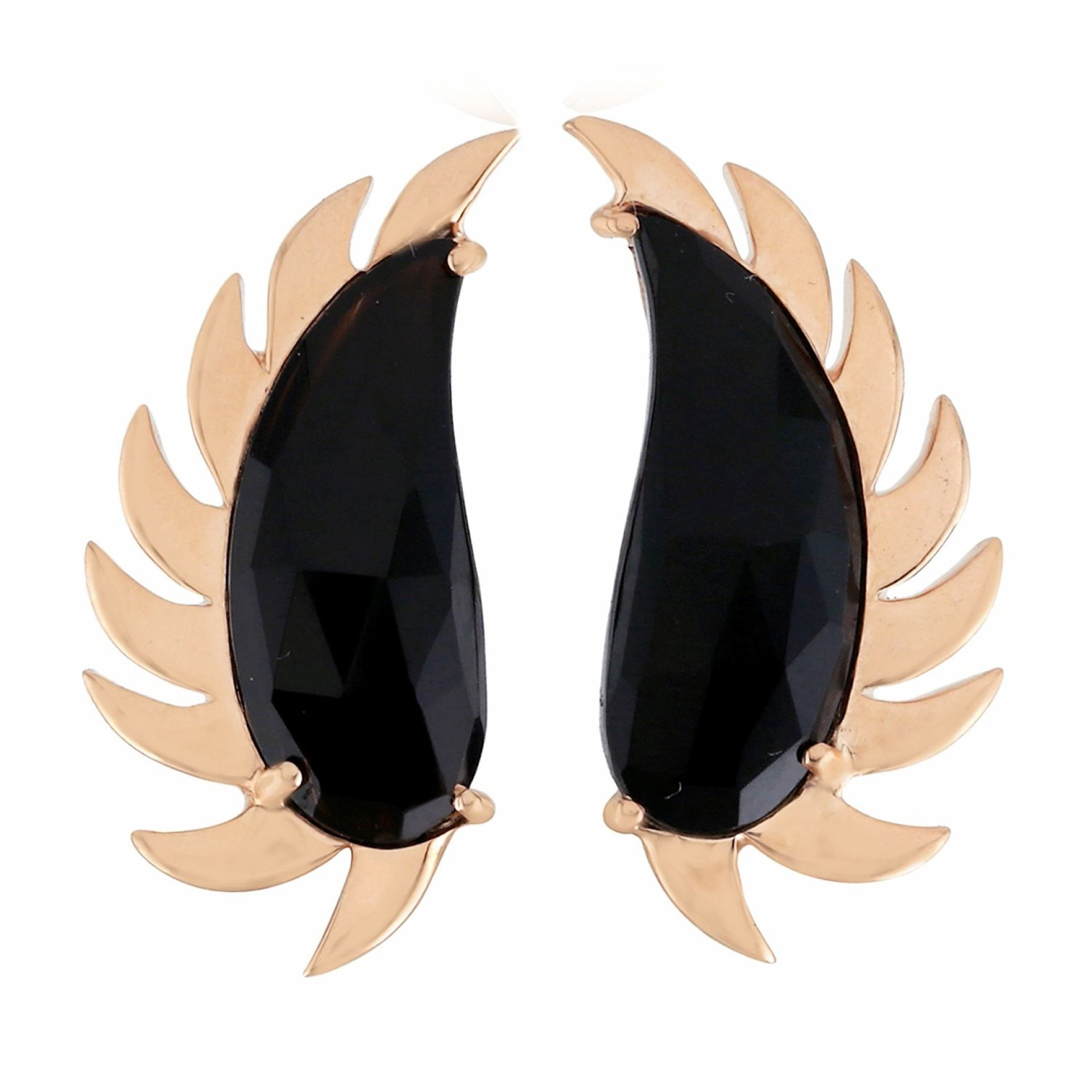 Meghna Jewels Claw Half Moon Studs Black Onyx