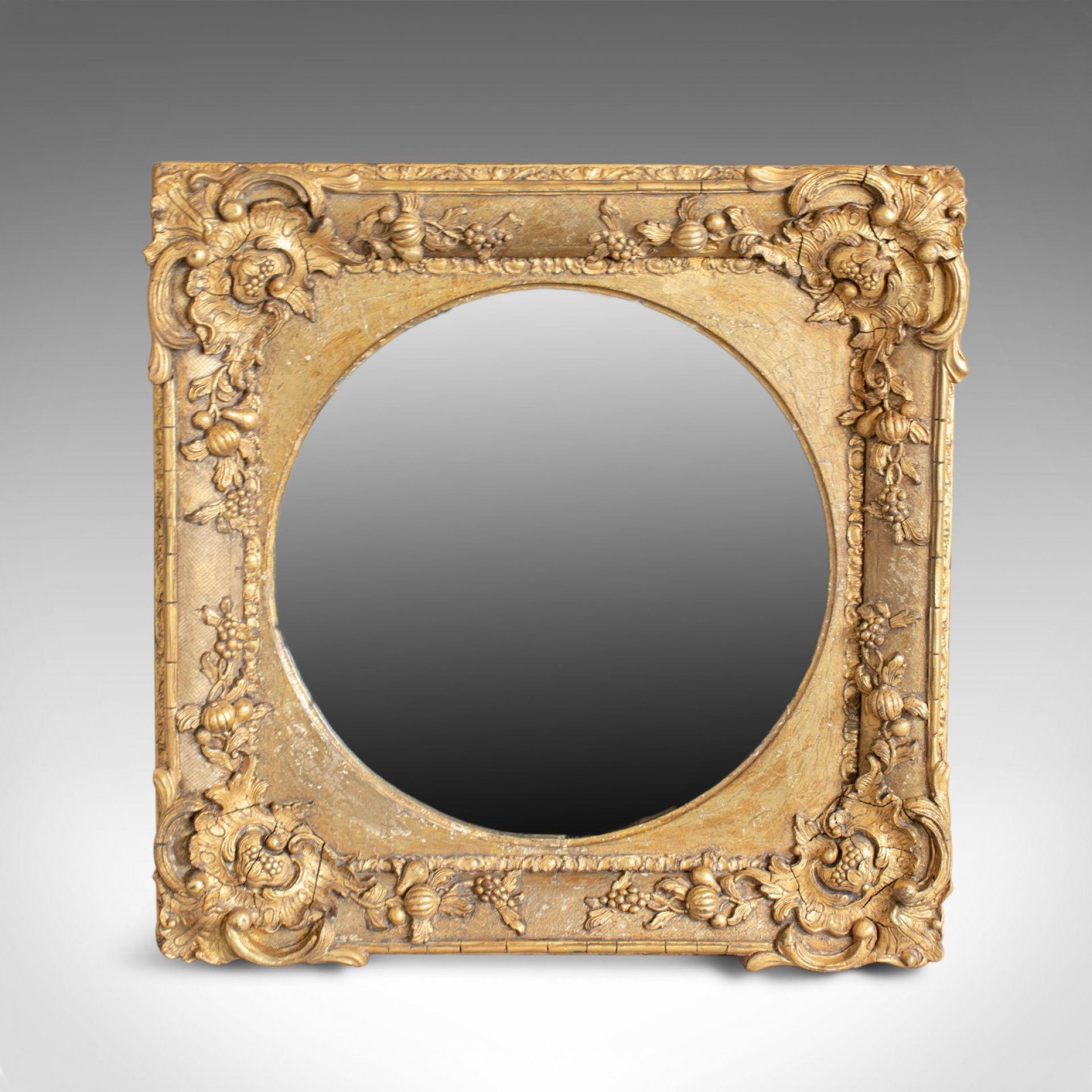 Antique Wall Mirror, English, Victorian, Gilt Gesso, Square, Circular Circa 1870
