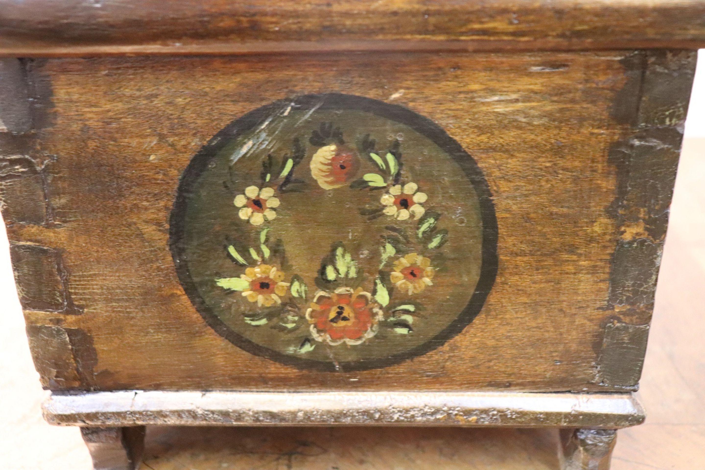 19th Century Italian Hand Painted Poplar Miniature Blanket Chest or Coffer