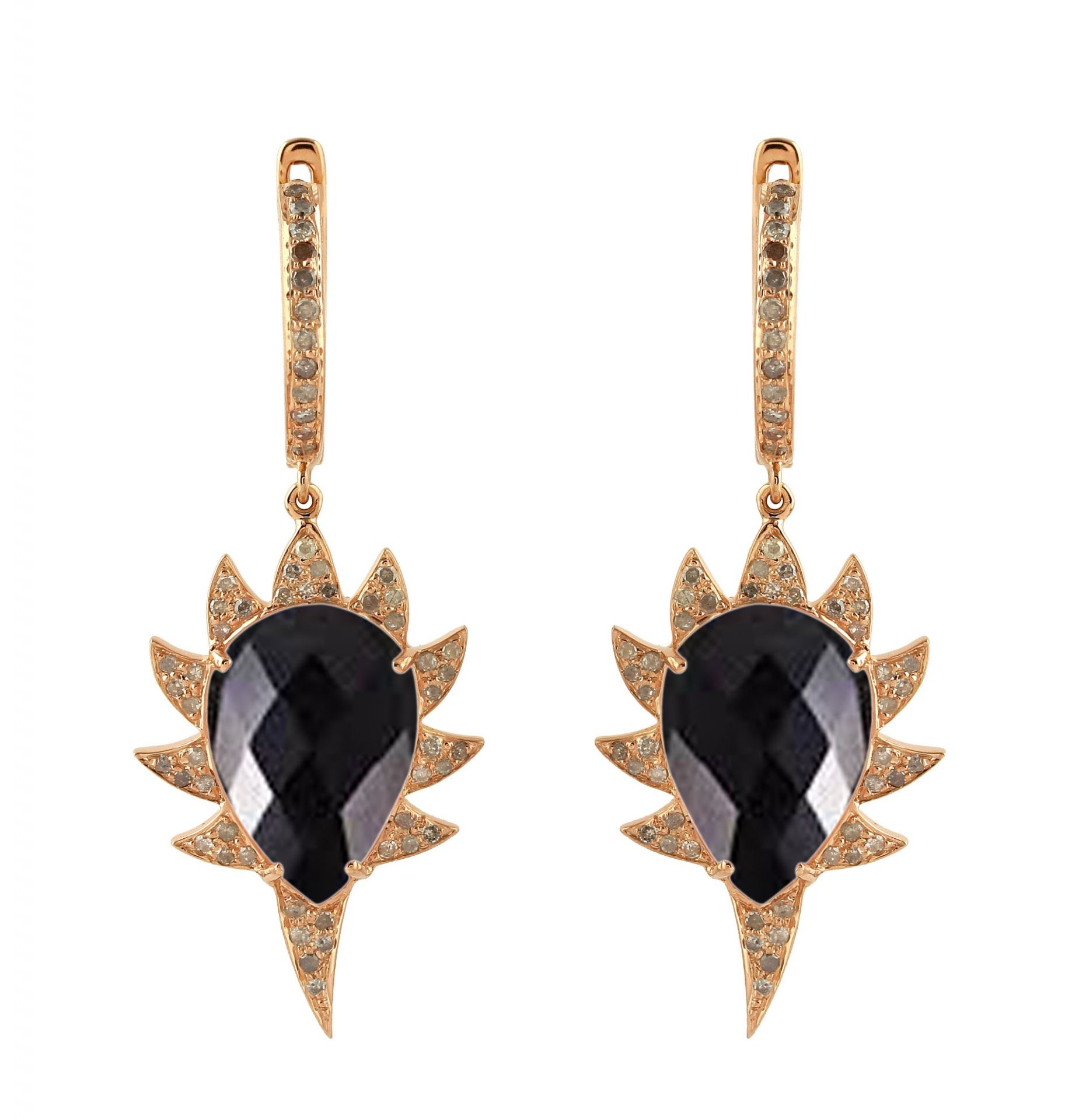 Meghna Jewels CLAW Single Drop Earrings Black onyx and Diamonds