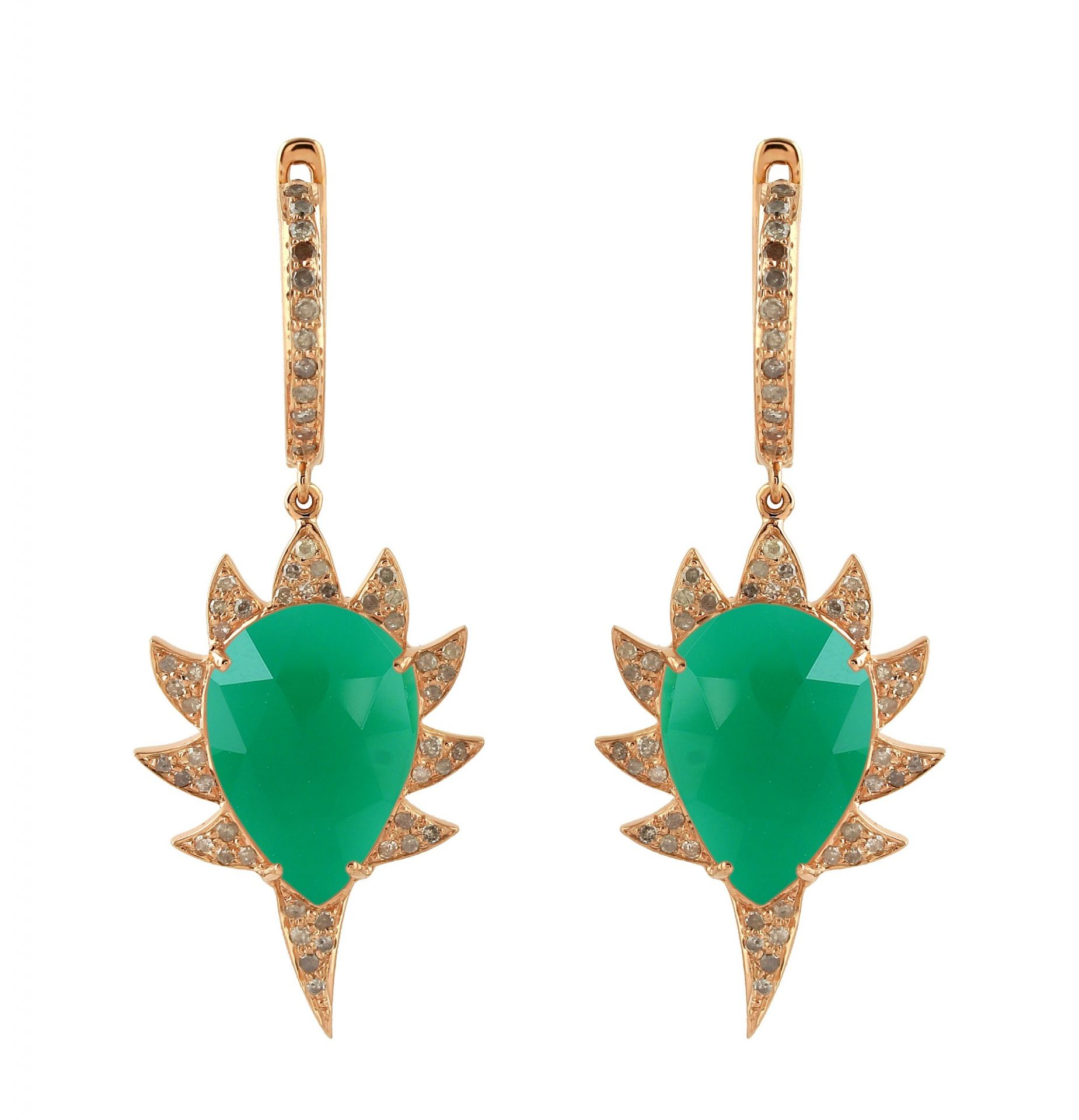 Meghna Jewels CLAW Single Drop Earrings Green Onyx and Diamonds