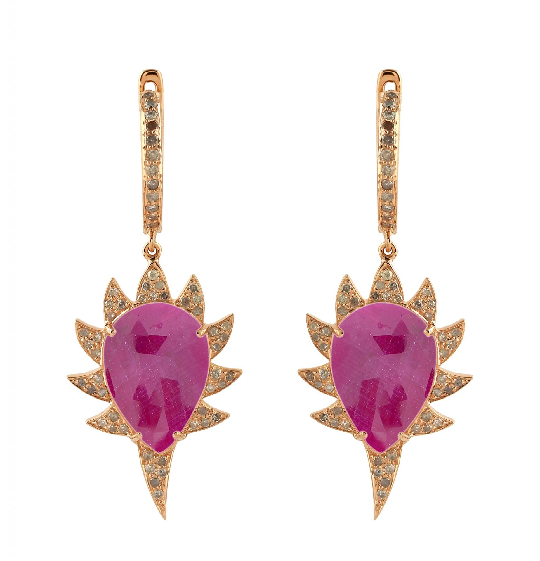 Meghna Jewels CLAW Single Drop Earrings Rubellite Diamonds
