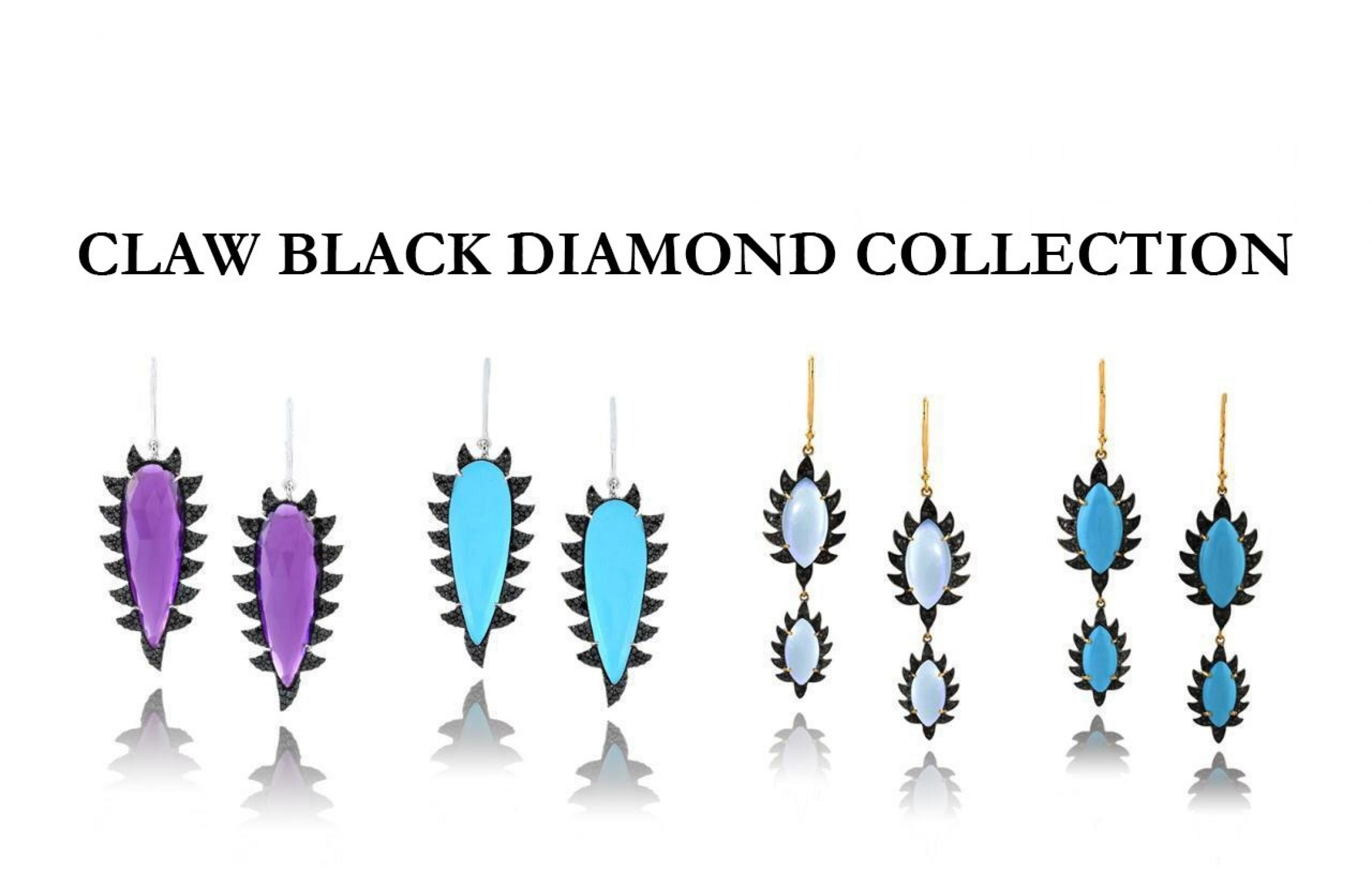 Meghna Jewels Claw Drop Earrings Turquoise & Black Diamonds