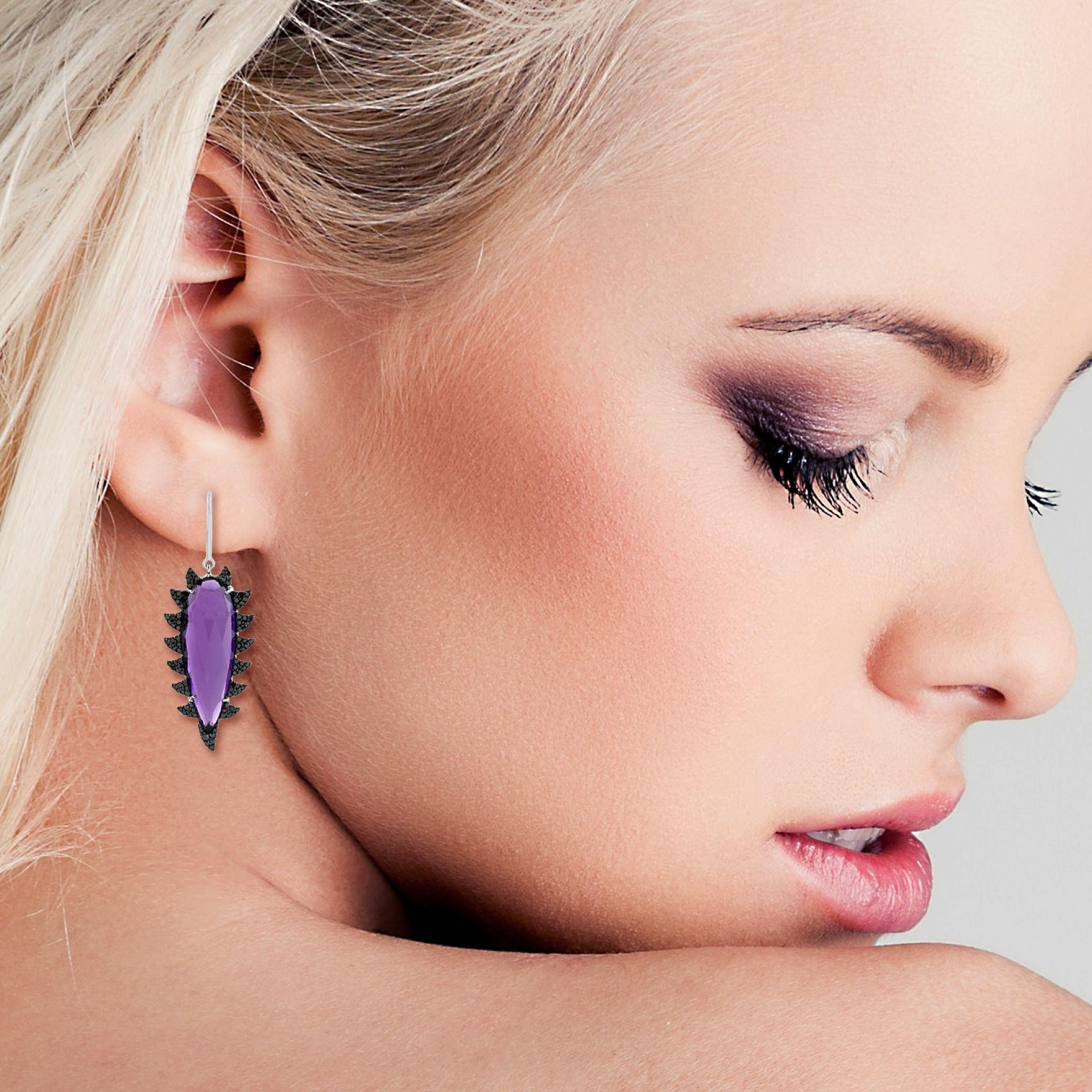 Meghna Jewels Claw Drop Earrings Green Onyx & Black Diamonds