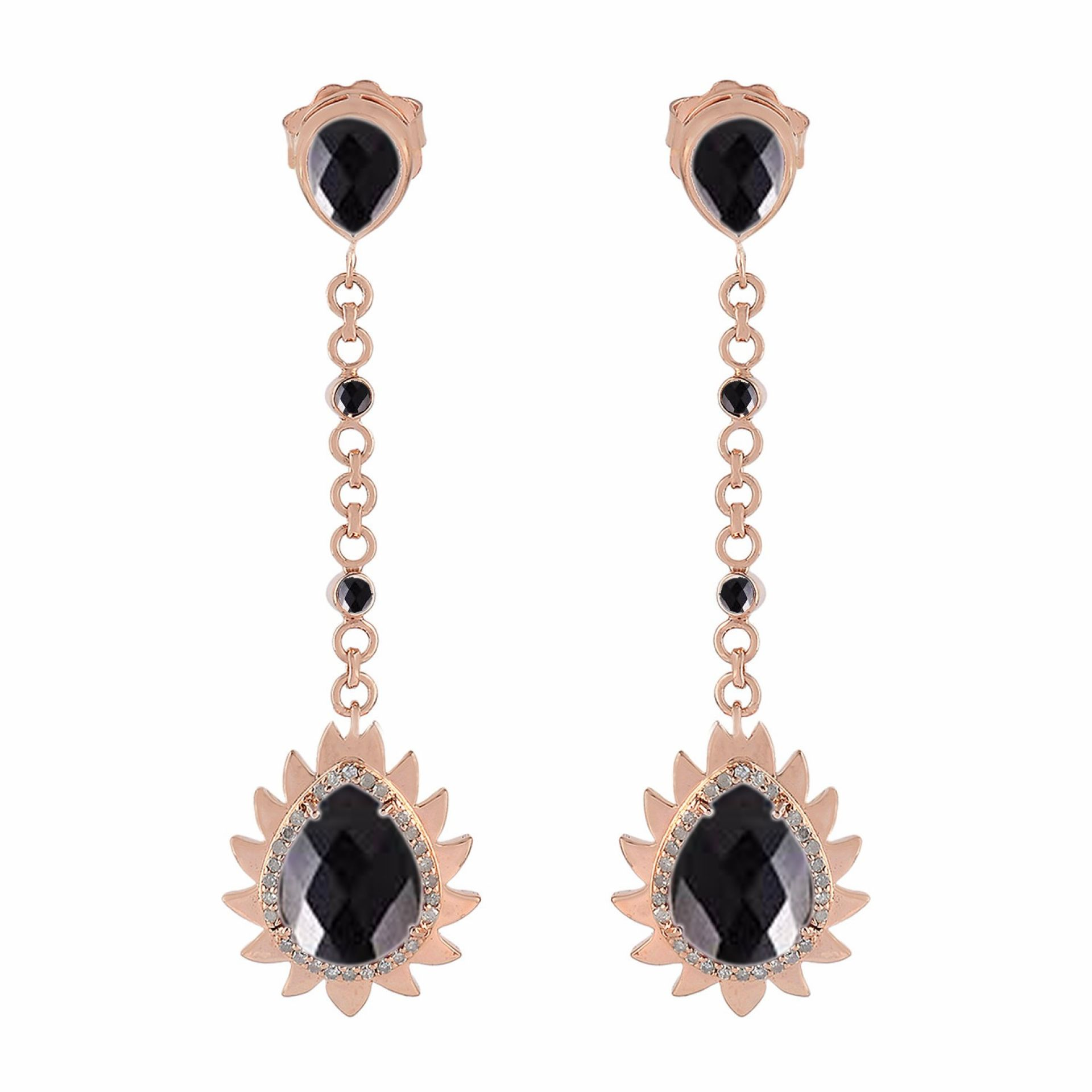 Meghna Jewels Flame Earrings Black Onyx & Diamonds