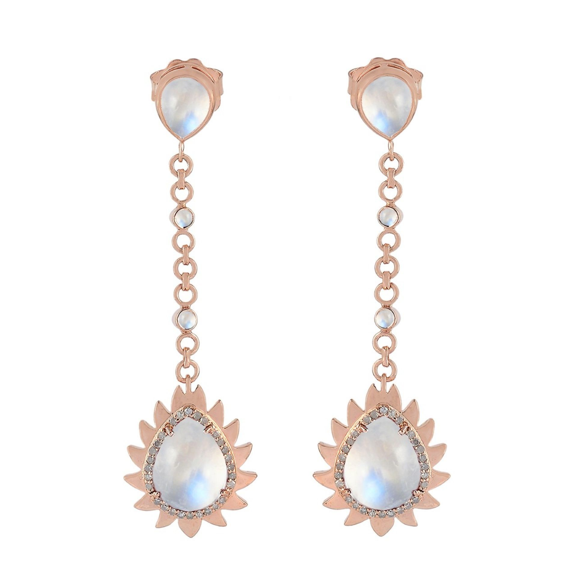 Meghna Jewels Flame Earrings Rainbow Moonstone & Diamonds