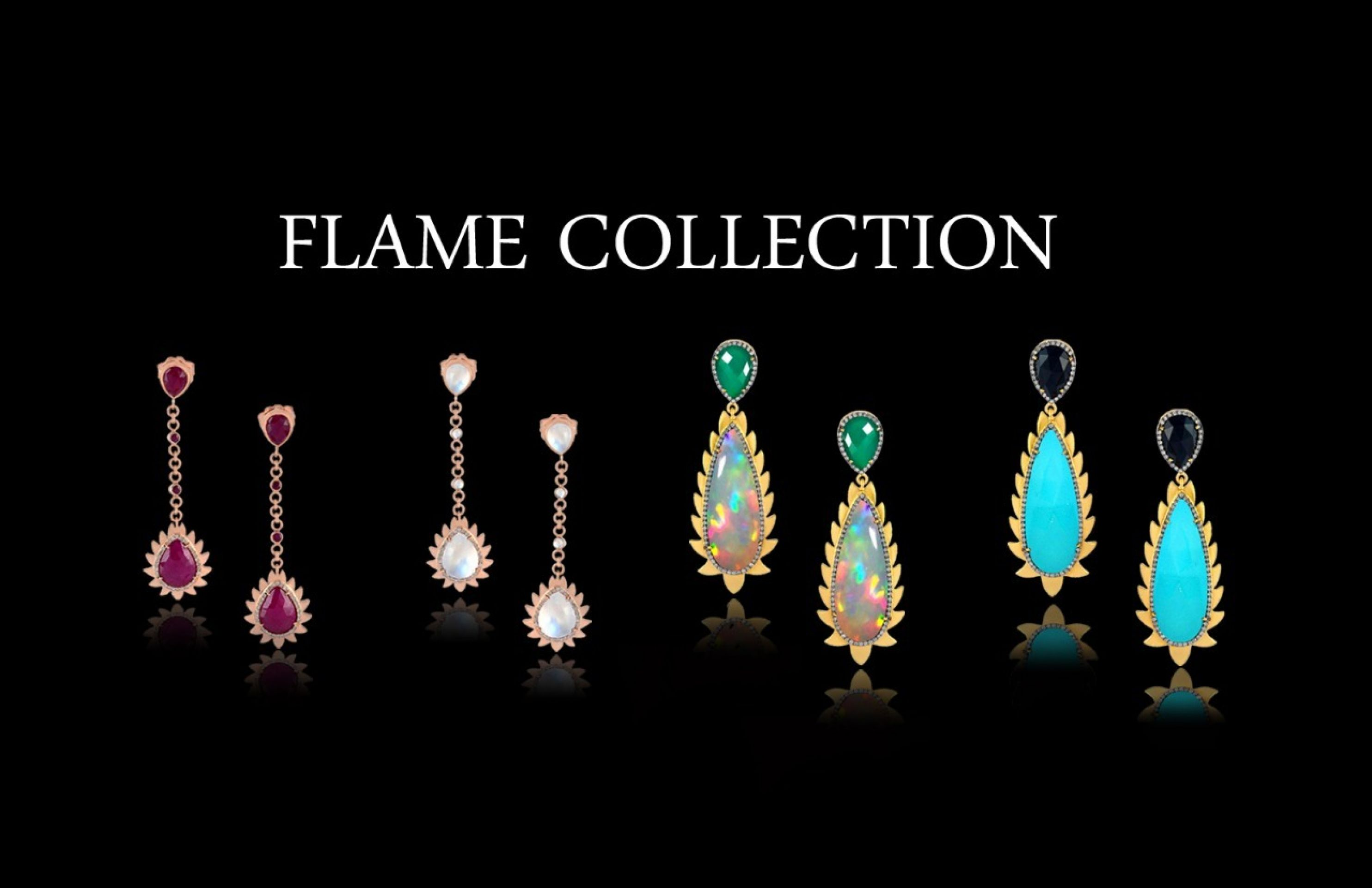 Meghna Jewels Flame Earrings Turquoise & Diamonds