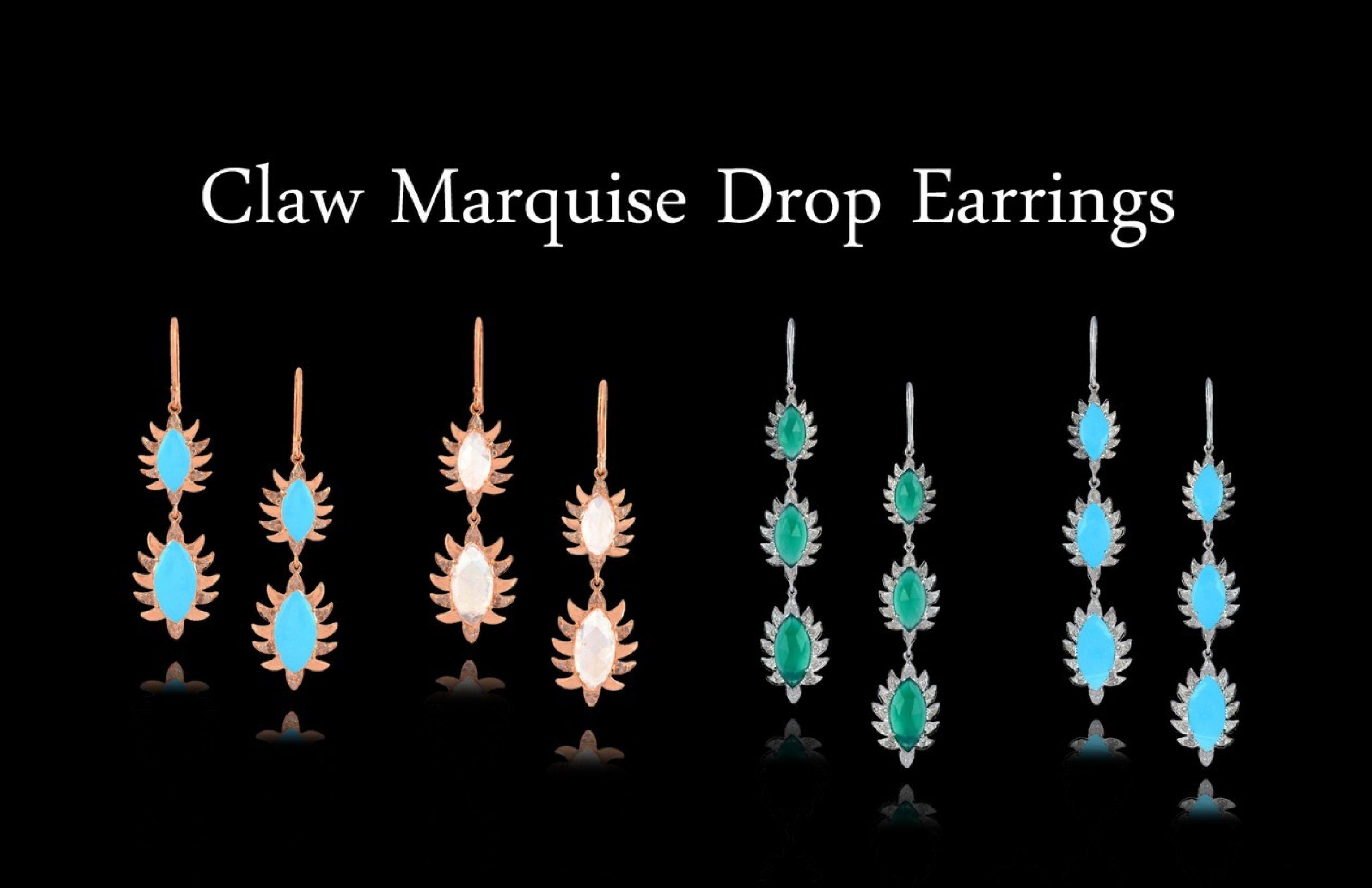 Meghna Jewels Triple Drop Marquise Earrings Turquoise & Diamonds