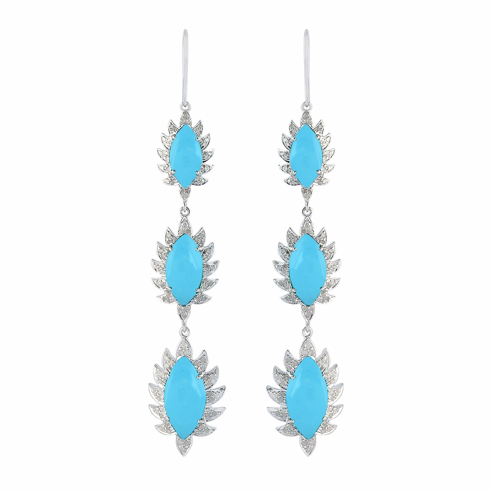 Meghna Jewels Triple Drop Marquise Earrings Turquoise & Diamonds