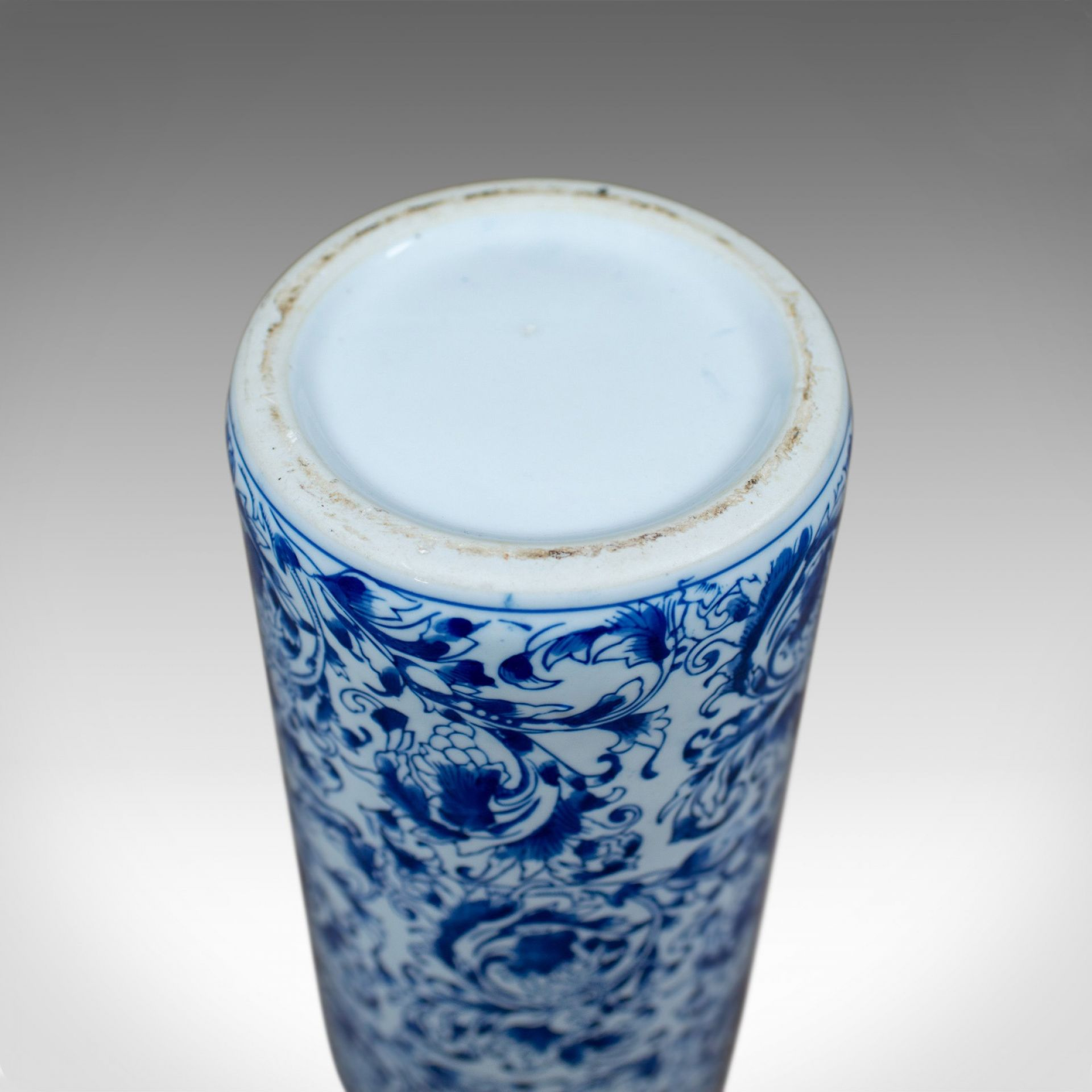 Vintage Umbrella Stand, Japanese, Blue and White, Ceramic, Stick Pot Mid C20th