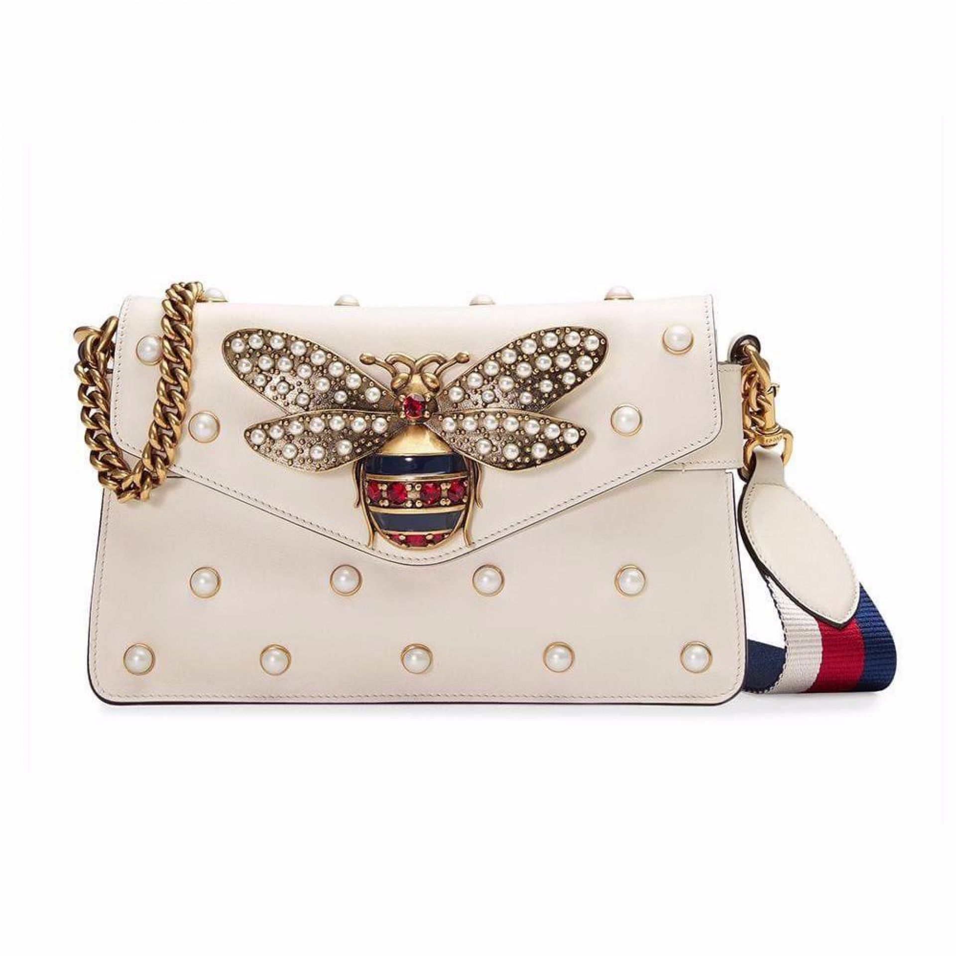 GUCCI BROADWAY WHITE LEATHER CLUTCH
