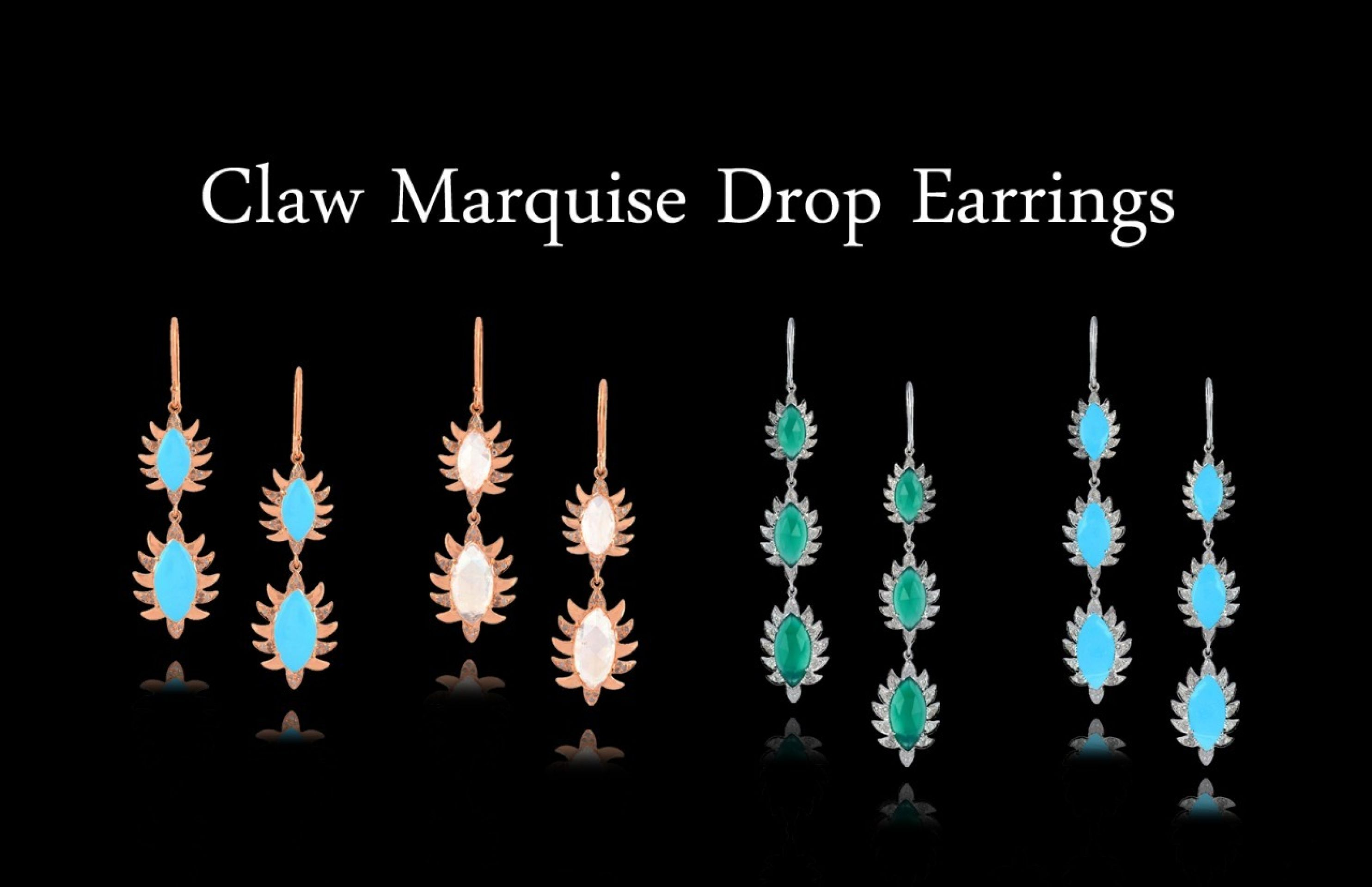 Meghna Jewels Double Drop Marquise Earrings Turquoise & Diamonds
