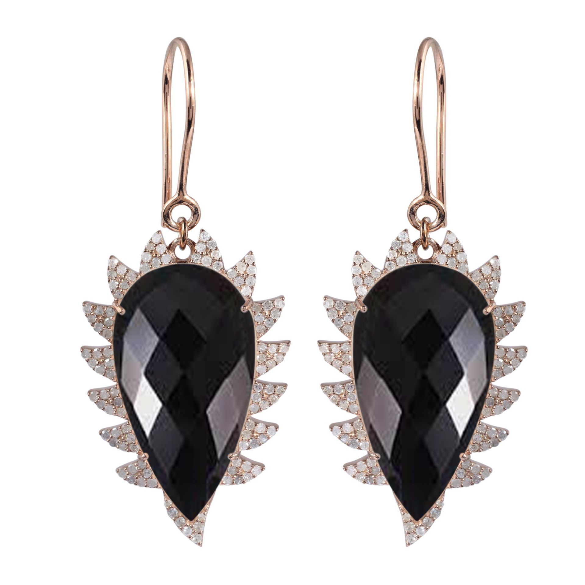 Meghna Jewels CLAW Drop Earrings Black Onyx and Diamonds