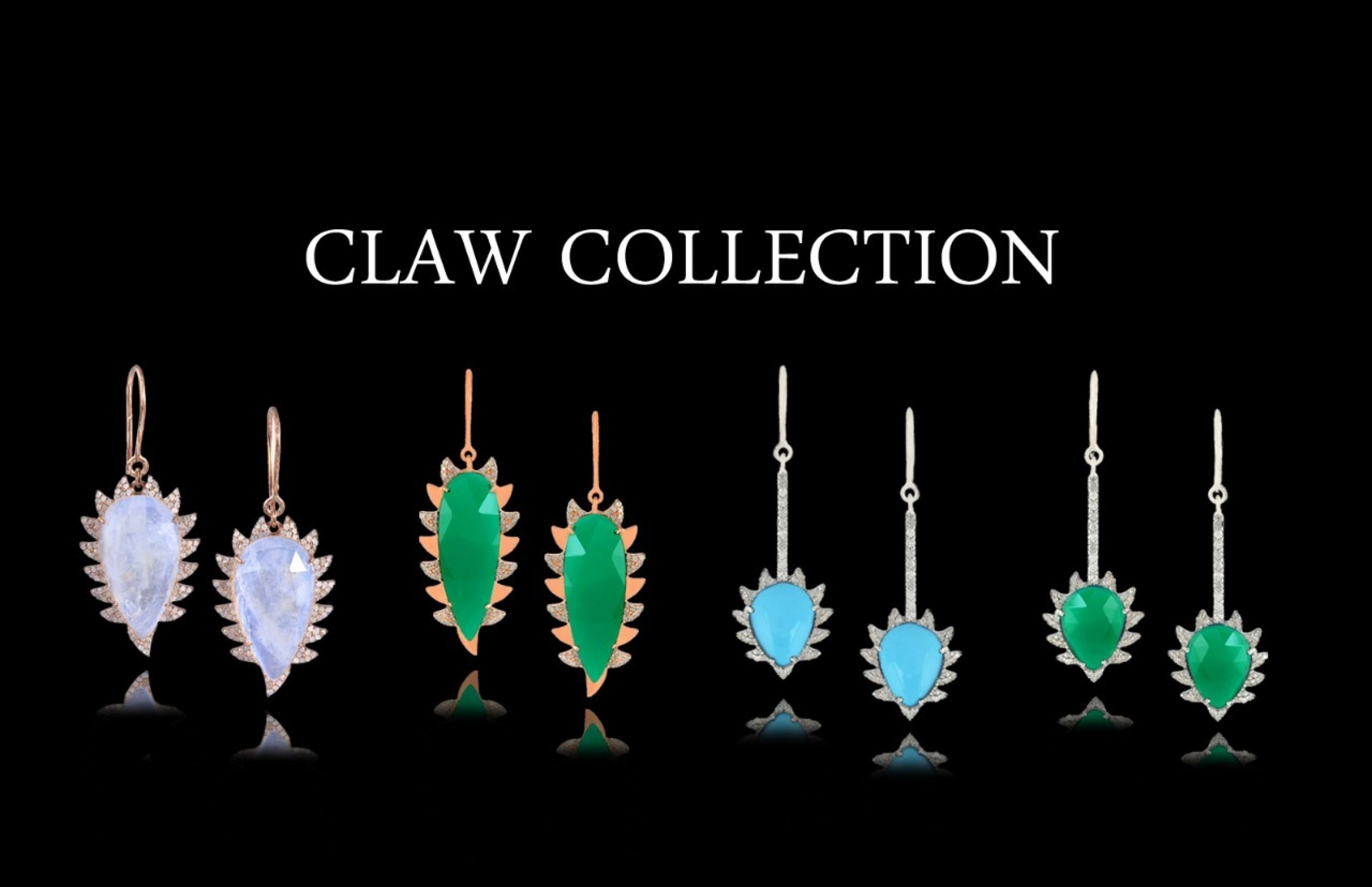 Meghna Jewels CLAW Drop Earrings Black Onyx and Diamonds