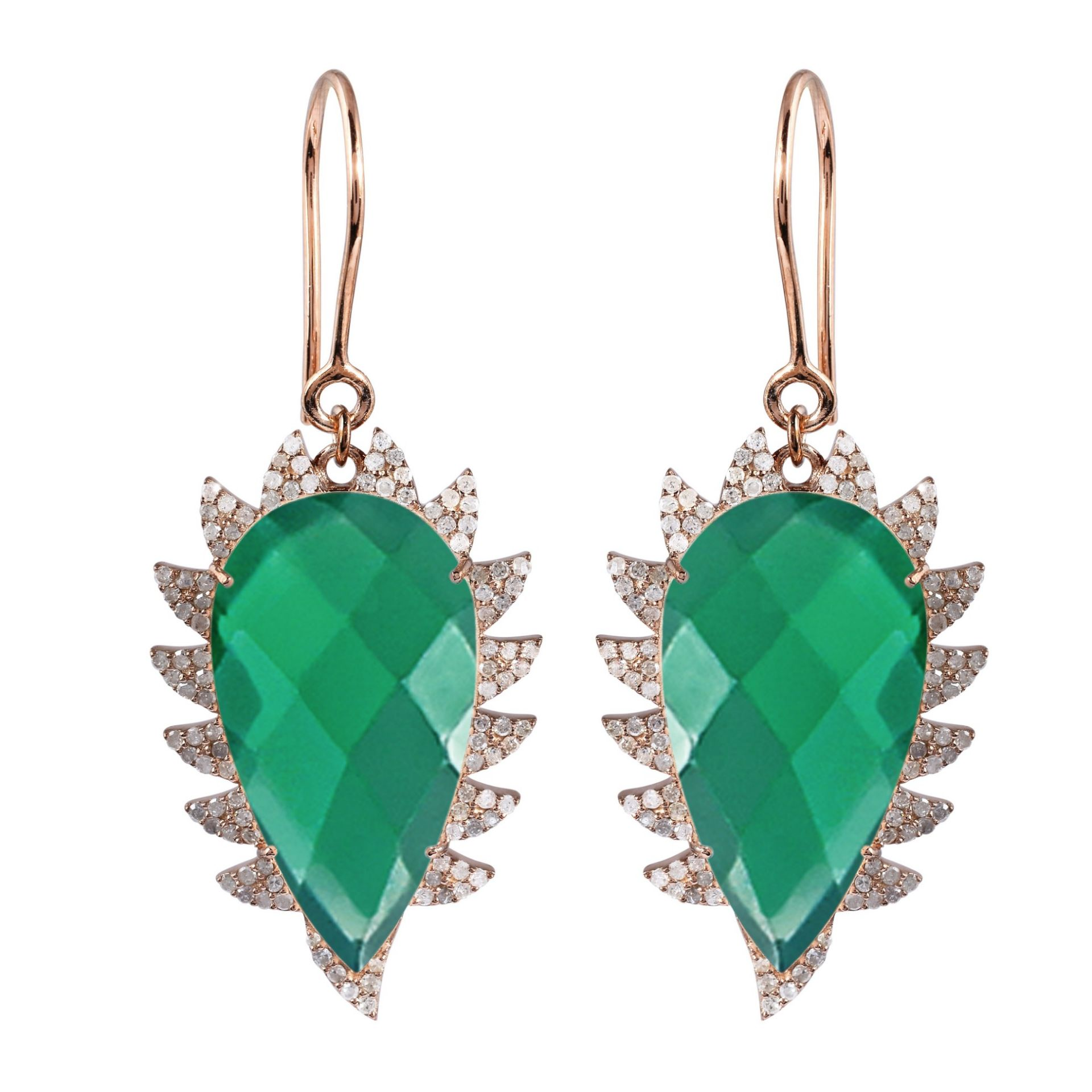 Meghna Jewels CLAW Drop Earrings Green Onyx and Diamonds