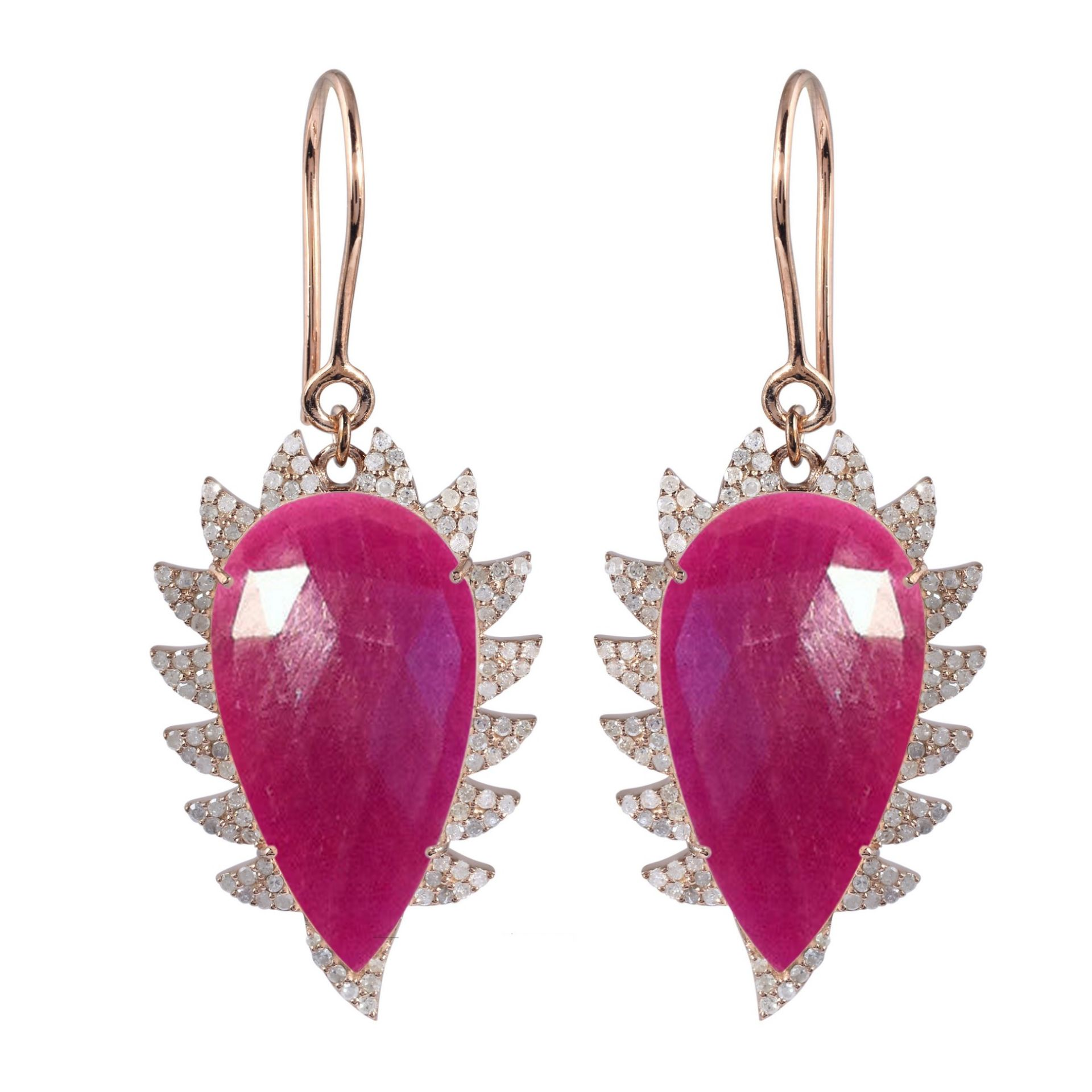 Meghna Jewels CLAW Drop Earrings Ruby and Diamonds