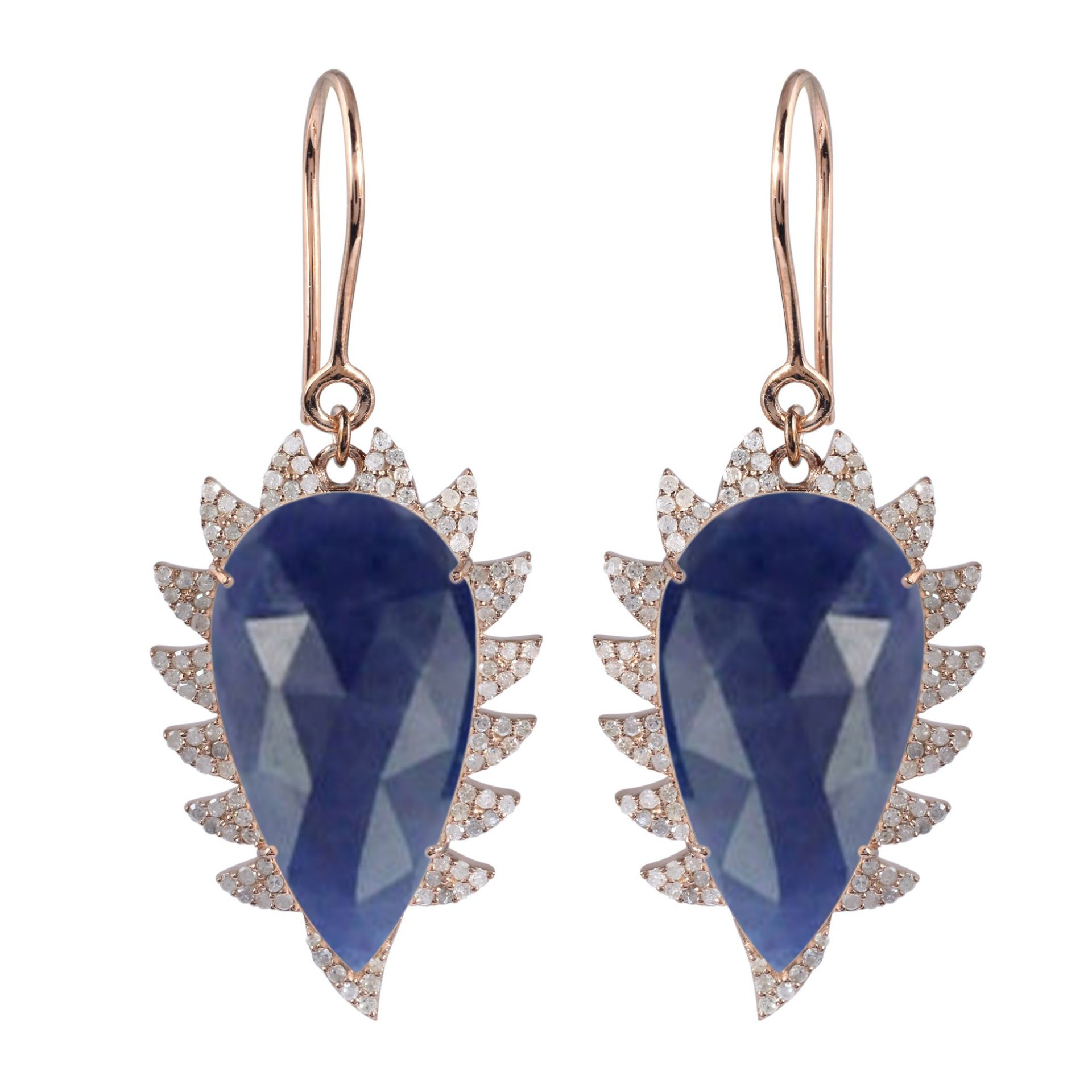 Meghna Jewels CLAW Drop Earrings Blue Sapphire and Diamonds