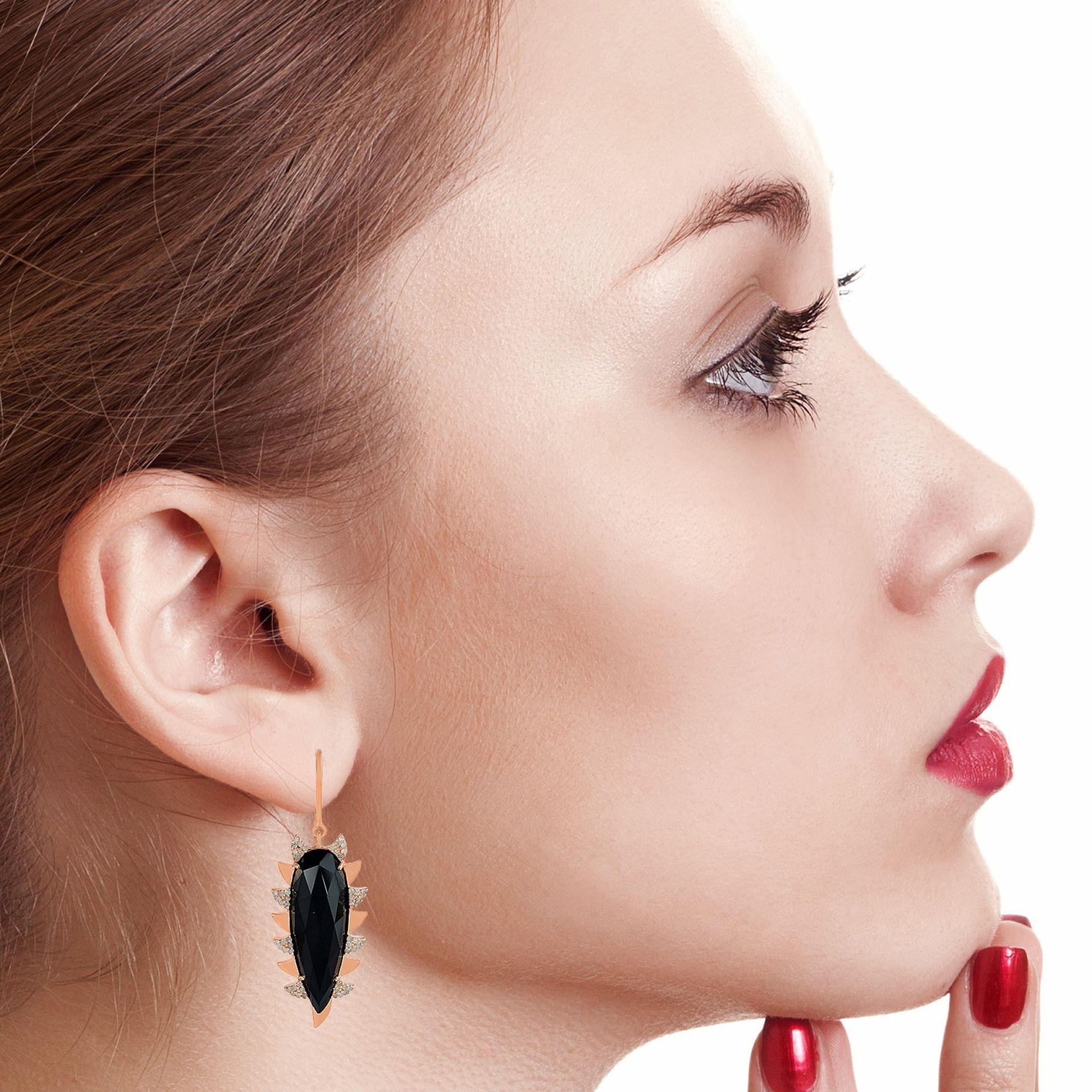 Meghna Jewels Claw Drop Earrings Rose Quartz & Alt Diamonds