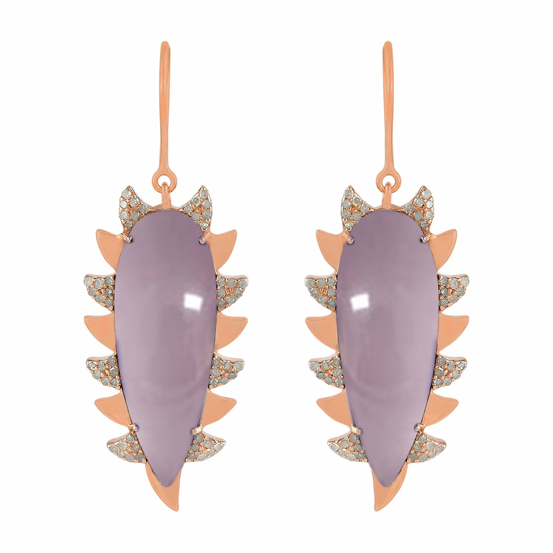 Meghna Jewels Claw Drop Earrings Rose Quartz & Alt Diamonds