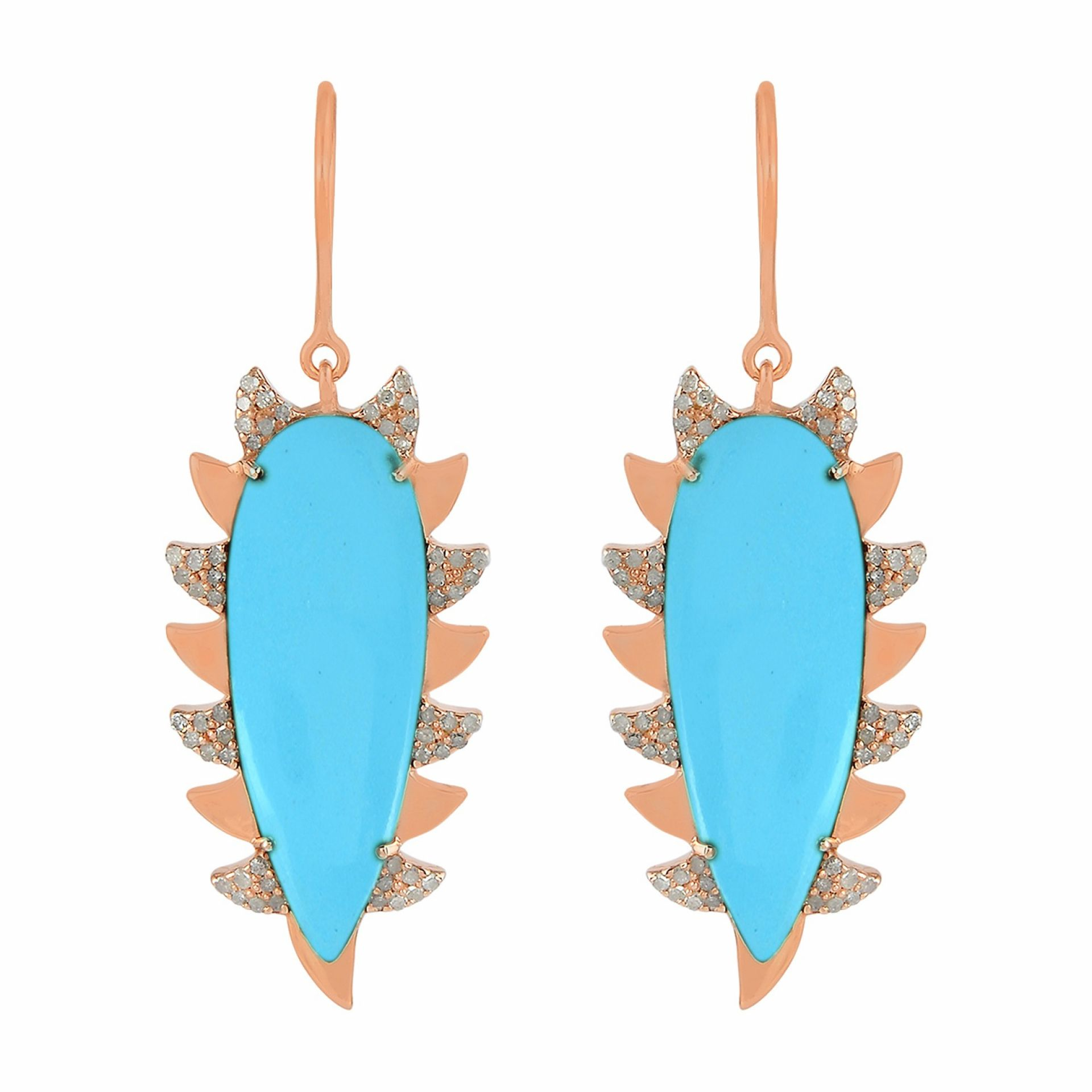 Meghna Jewels Claw Drop Earrings Turquoise & Alt Diamonds