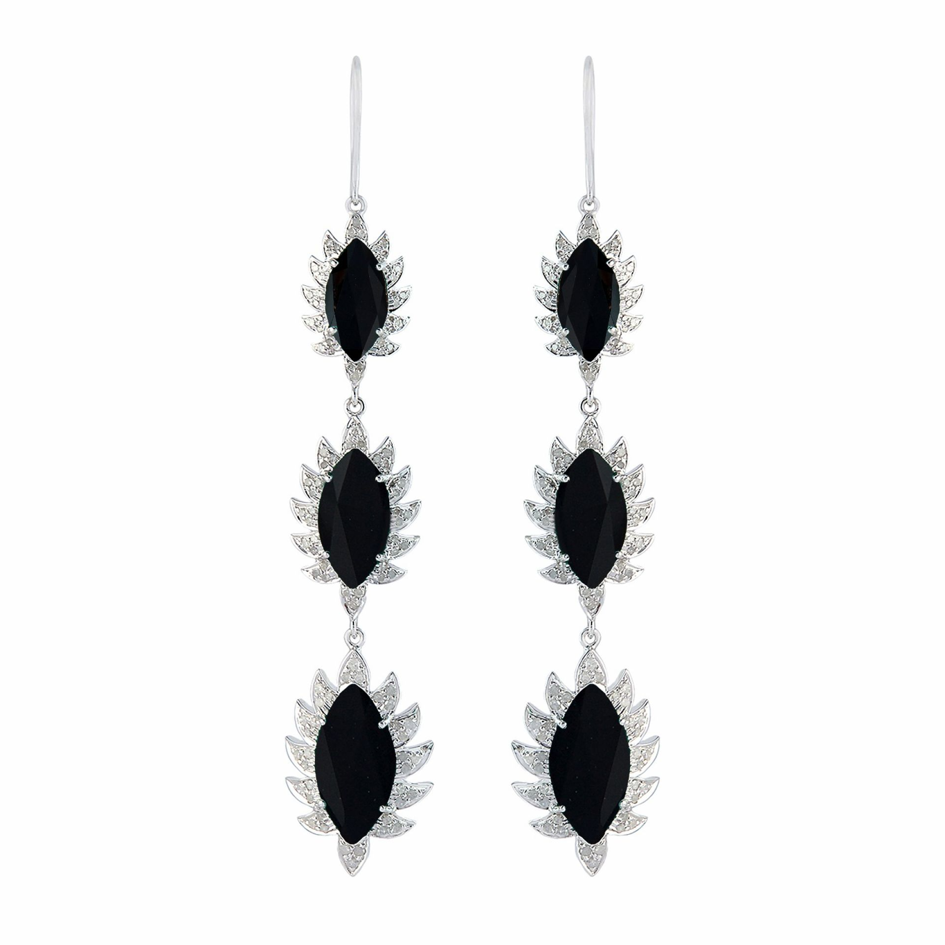 Meghna Jewels Triple Drop Marquise Earrings Black Onyx & Diamonds
