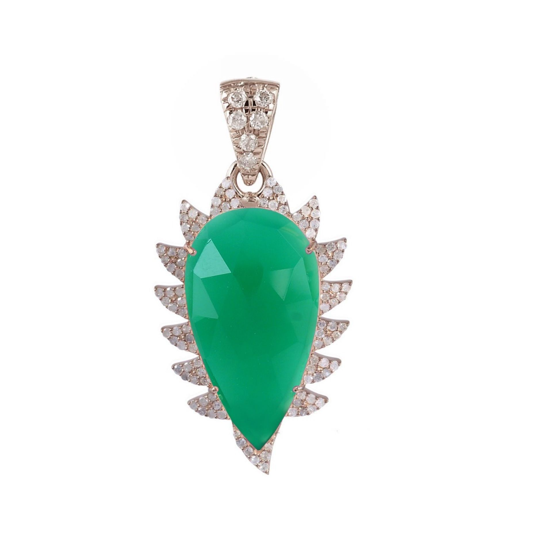 Meghna Jewels Claw Green Onyx Diamonds Pendant Necklace
