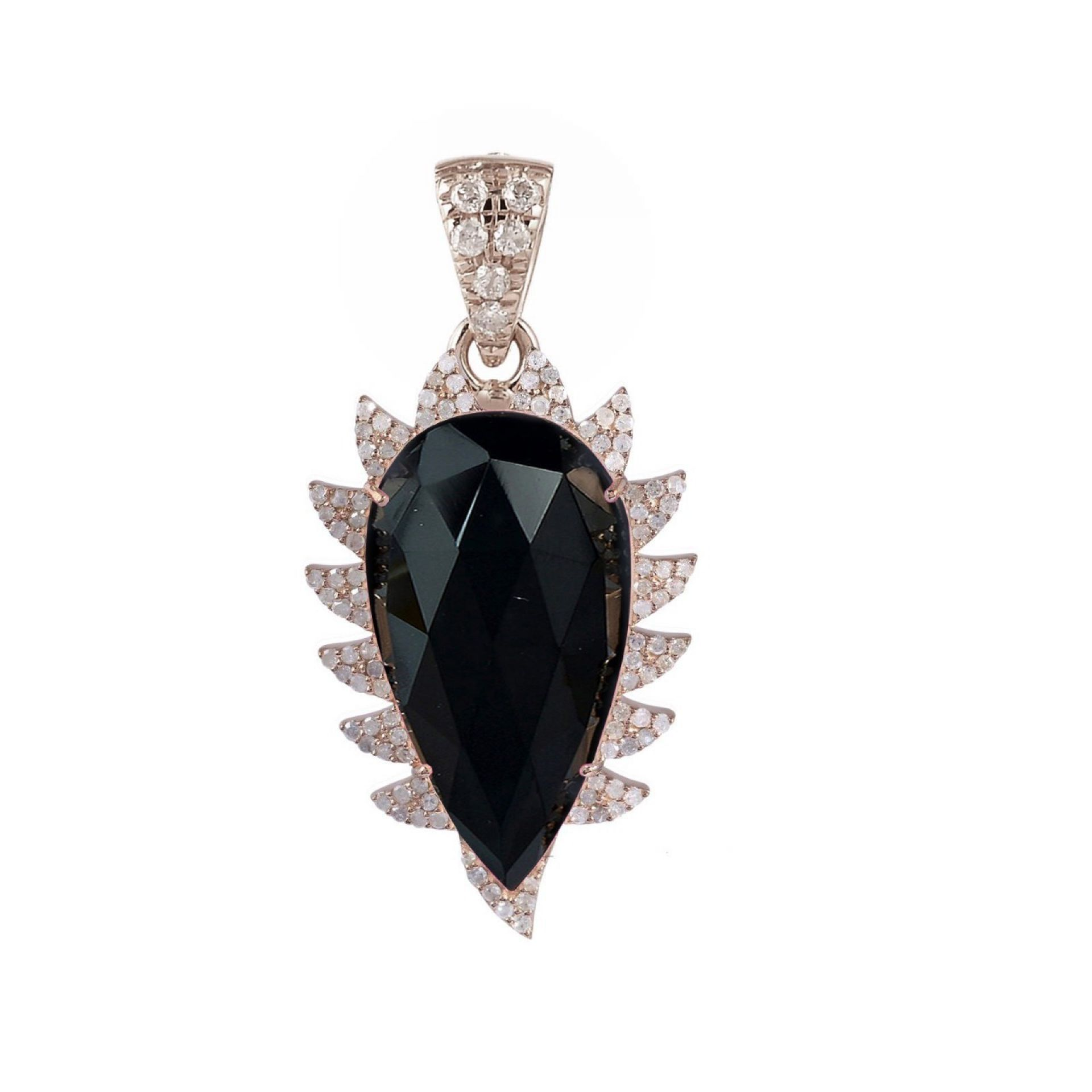 Meghna Jewels Claw Black Onyx Diamonds Pendant Necklace