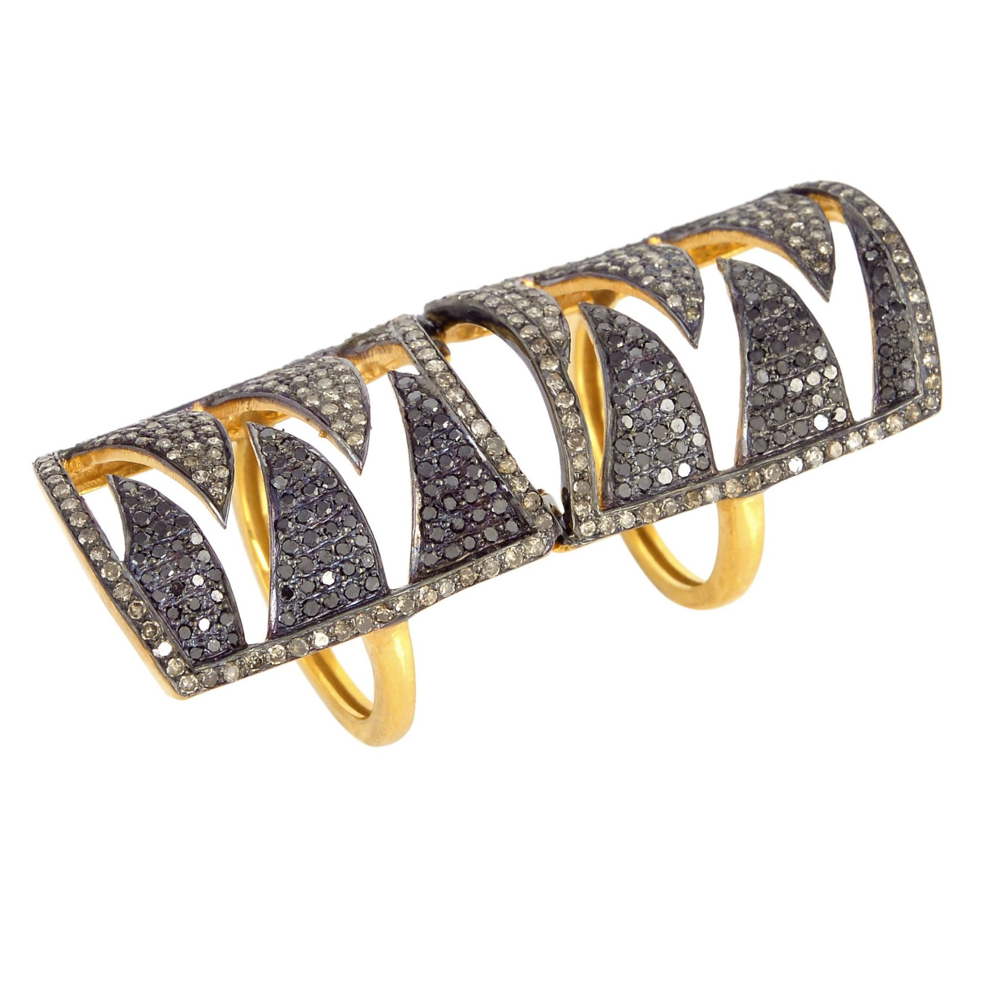 Meghna Jewels Interlocking Claw Ring Black and Champagne Diamonds
