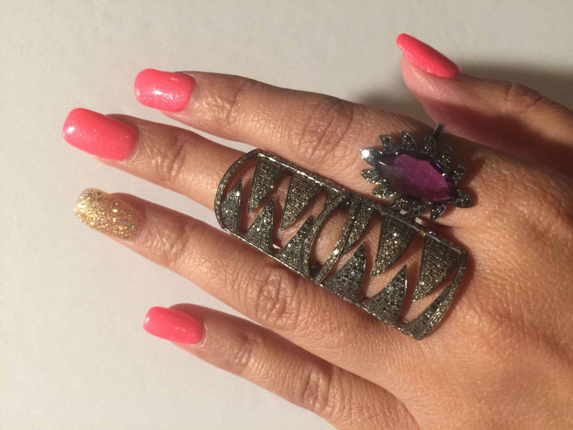 Meghna Jewels Interlocking Claw Ring Black and Champagne Diamonds