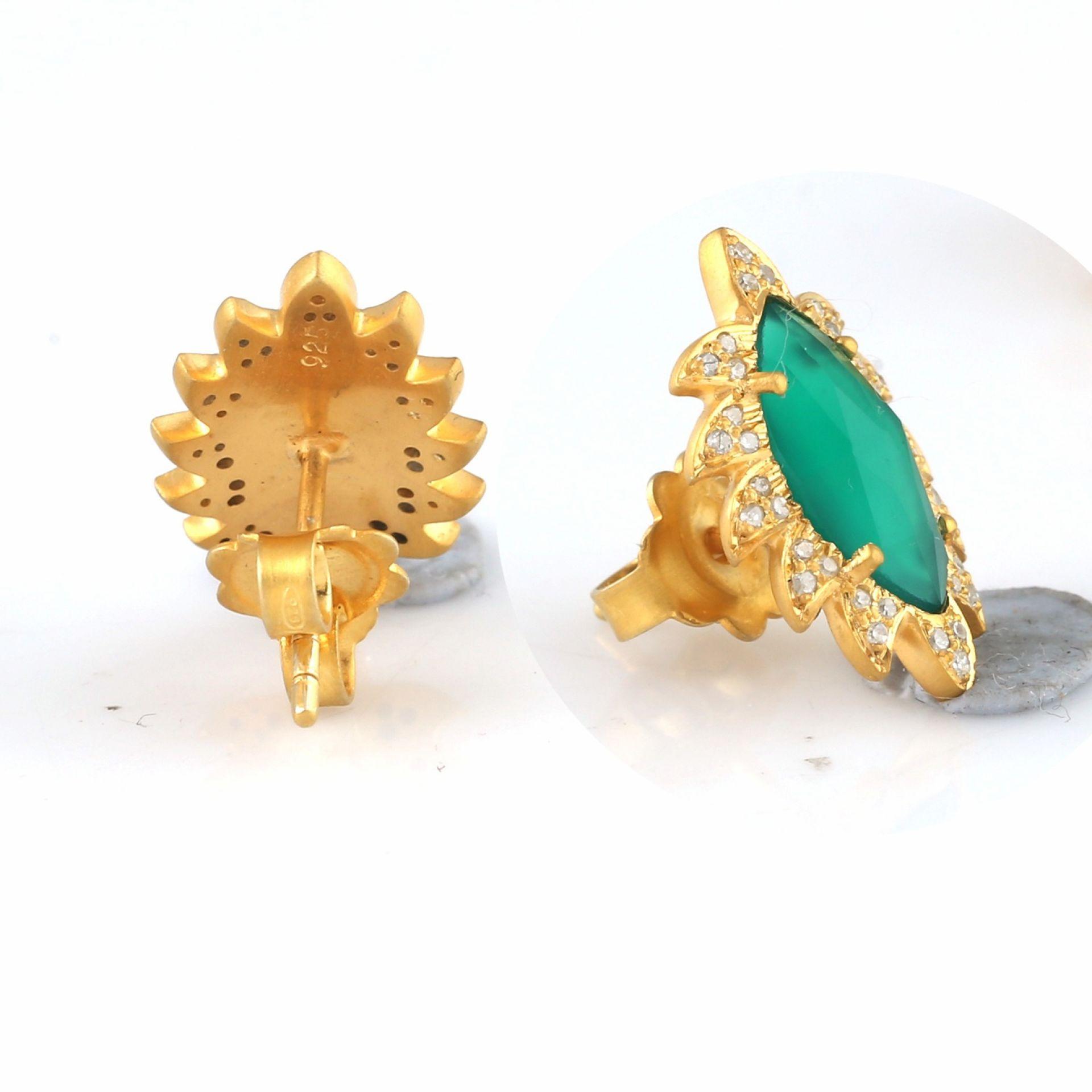 Meghna Jewels CLAW Stud Earrings Green Onyx and Diamonds