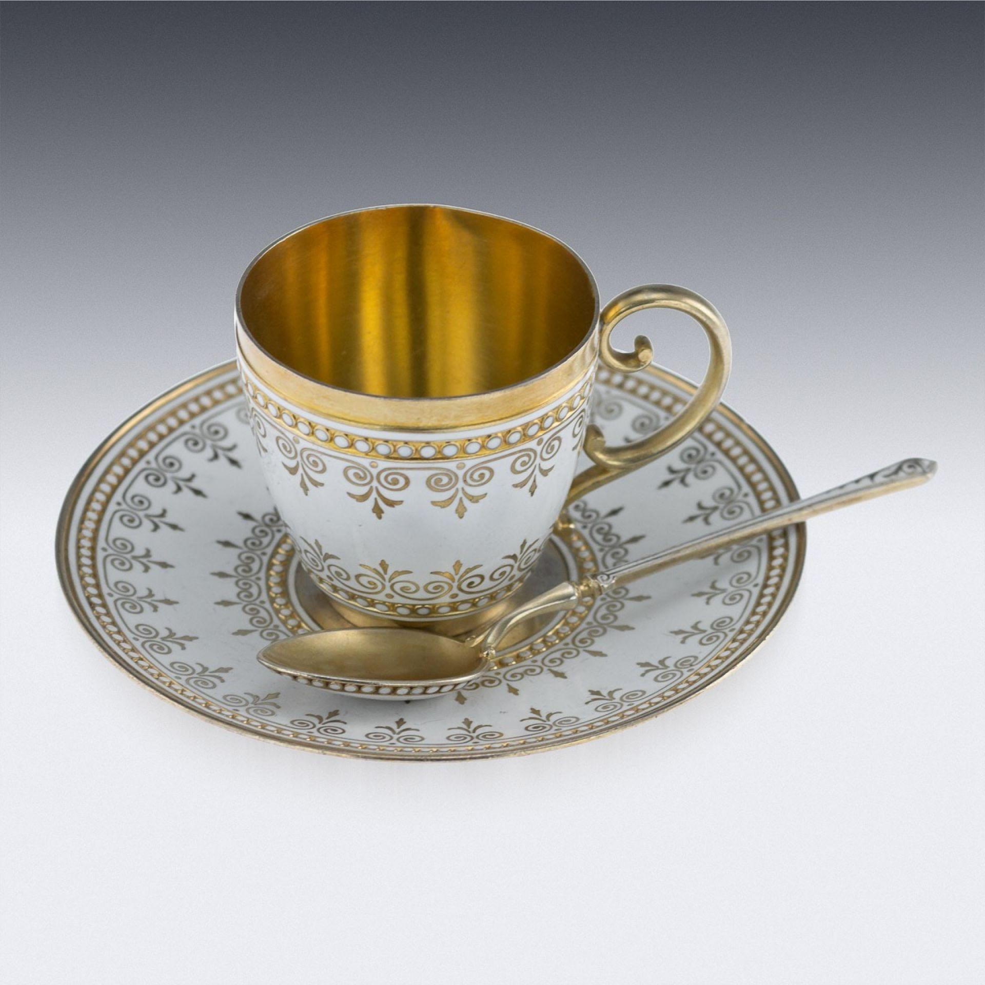 ANTIQUE 19THC NORWEGIAN SILVER & ENAMEL TEA SERVICE, DAVID ANDERSEN C.1890