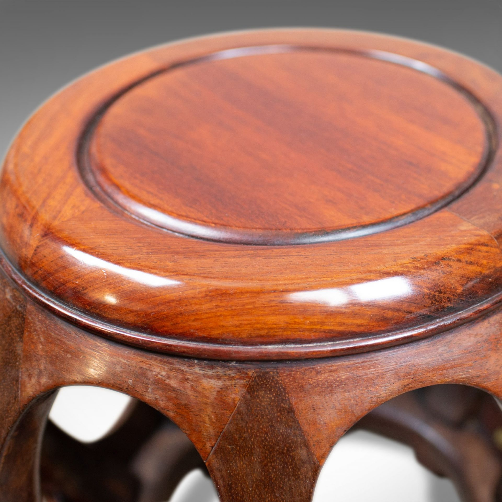 Pair of Vintage Chinese Barrel Side Tables, Huali Rosewood, Stools, C20th