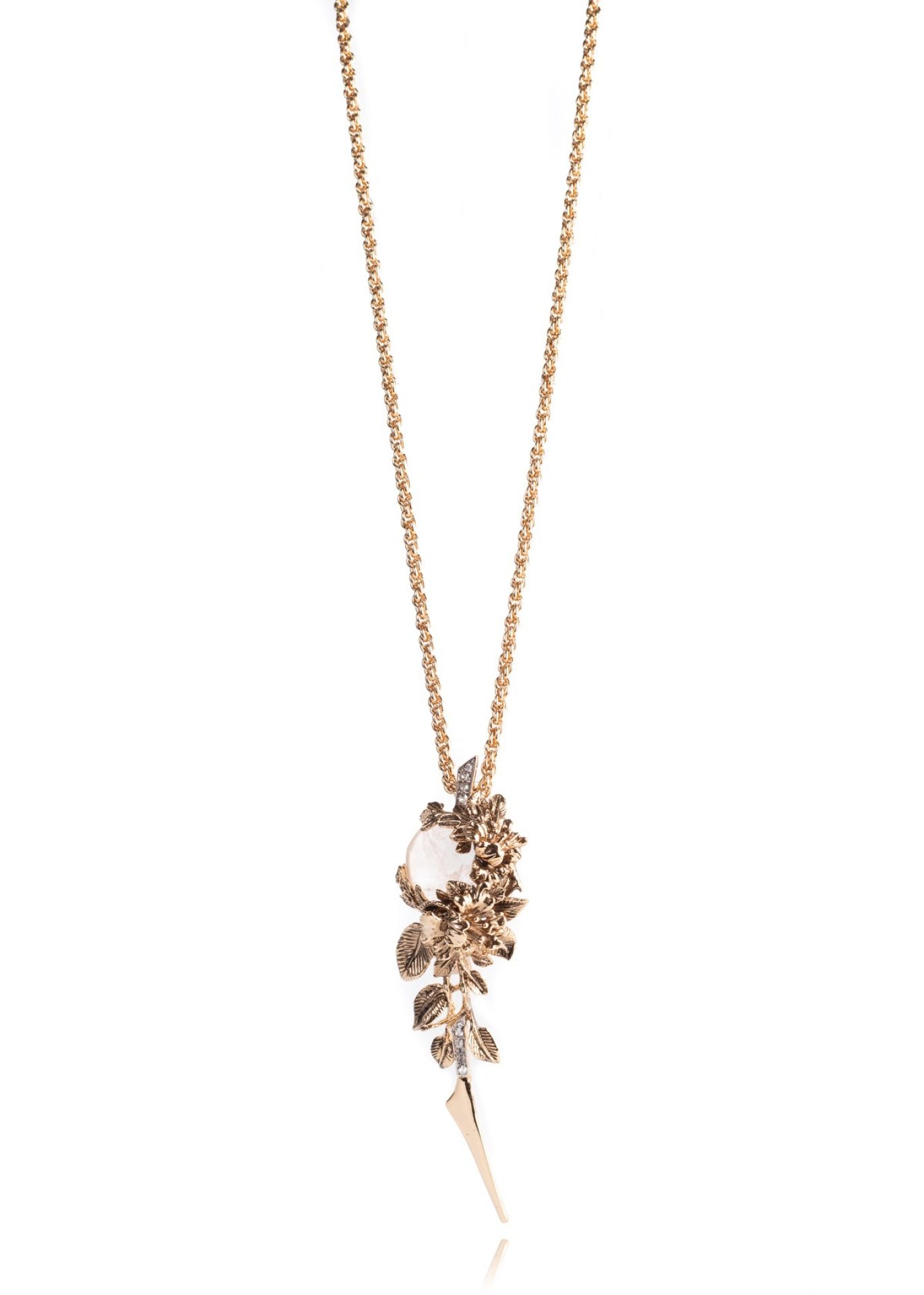 ROBERTO CAVALLI GOLD CABLE LINK WHITE OPAL SWAROVSKI FLORAL CHAIN